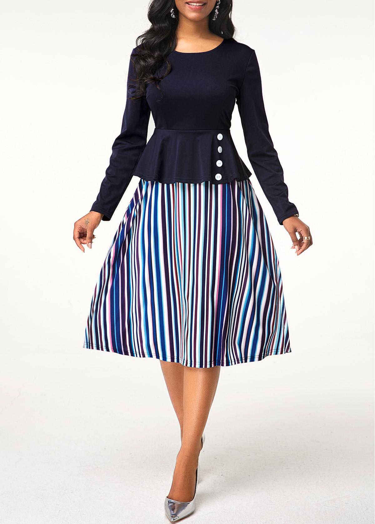 Stripe Print Round Neck Button Detail Dress