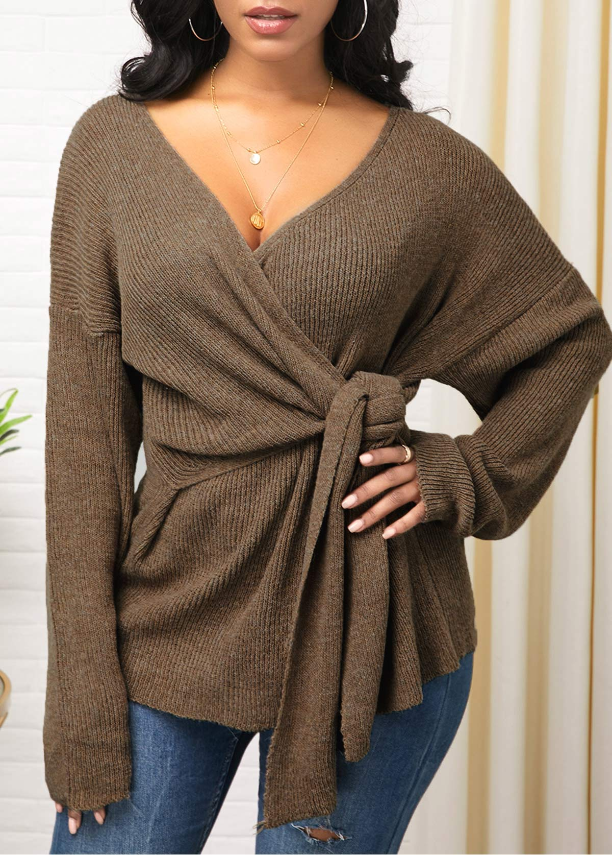 Knot Detail Long Sleeve Plunging Neck Sweater