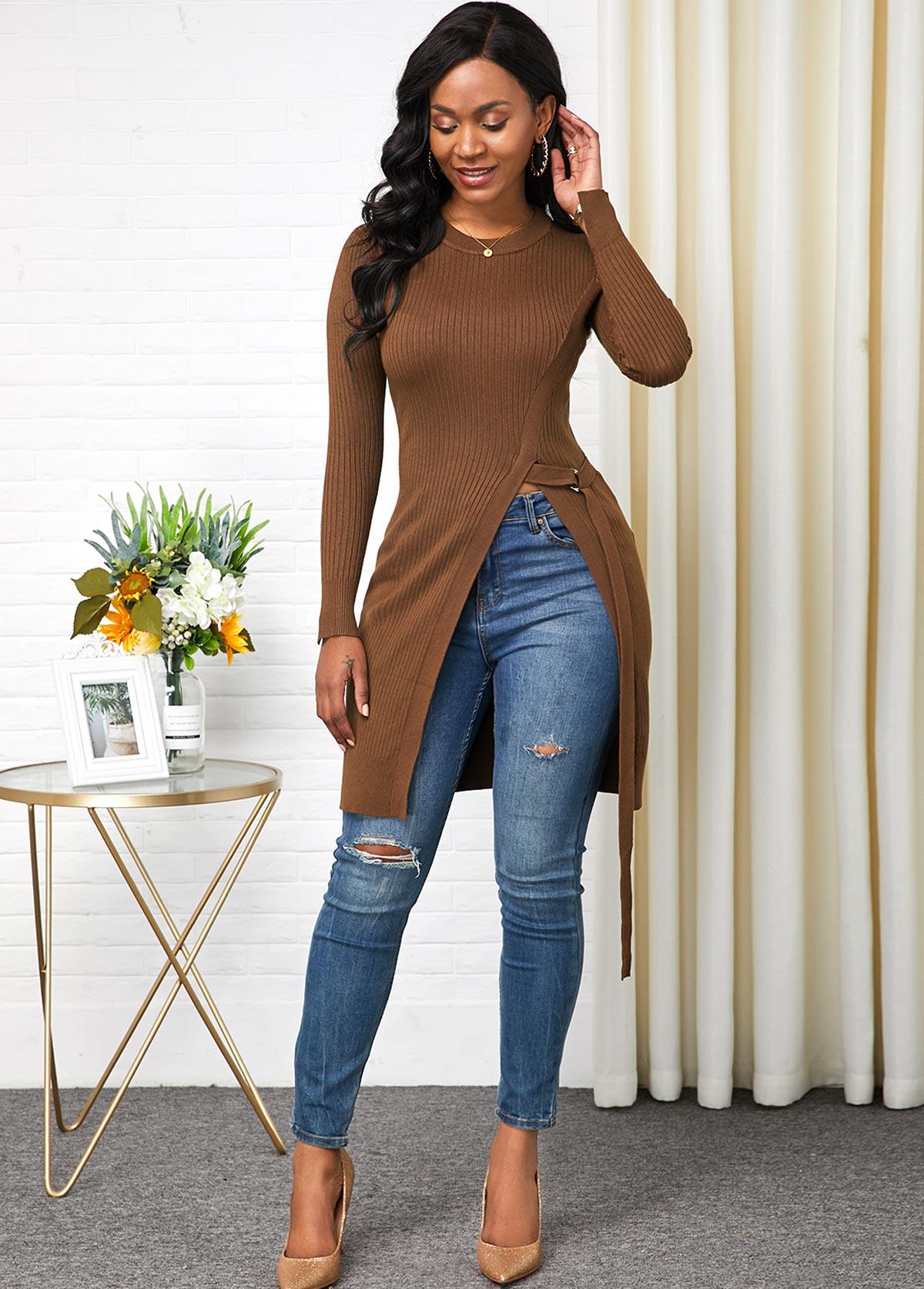 ROTITA Long Sleeve Side Slit Round Neck Sweater