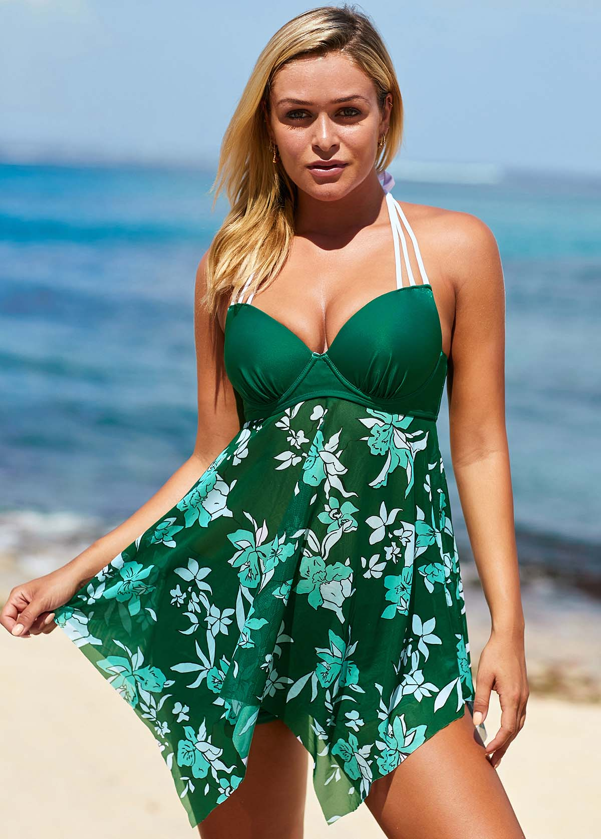 Green Floral Print Halter Neck Swimdress and Shorts