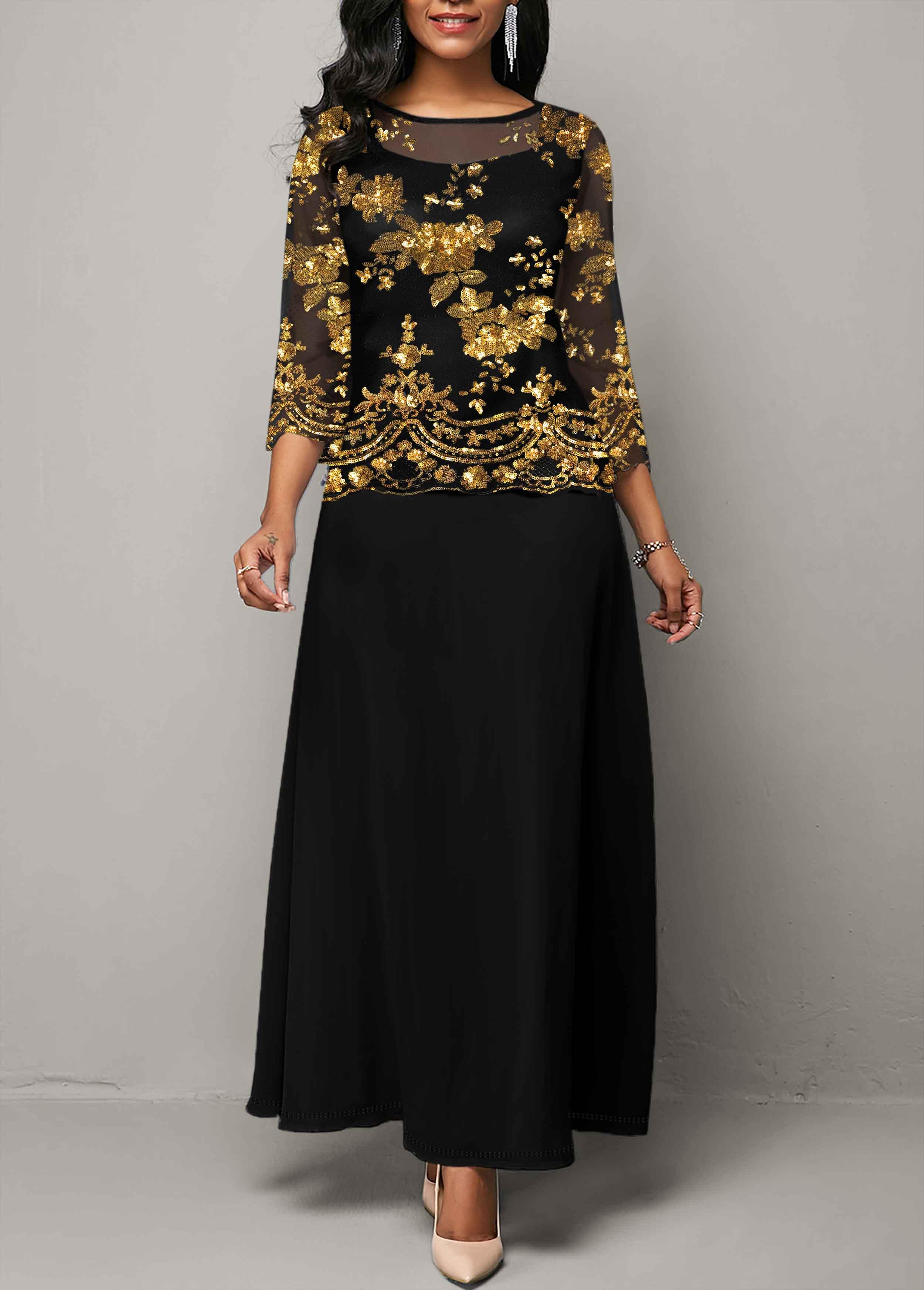 ROTITA Sequin Detail Mesh Panel Maxi Dress