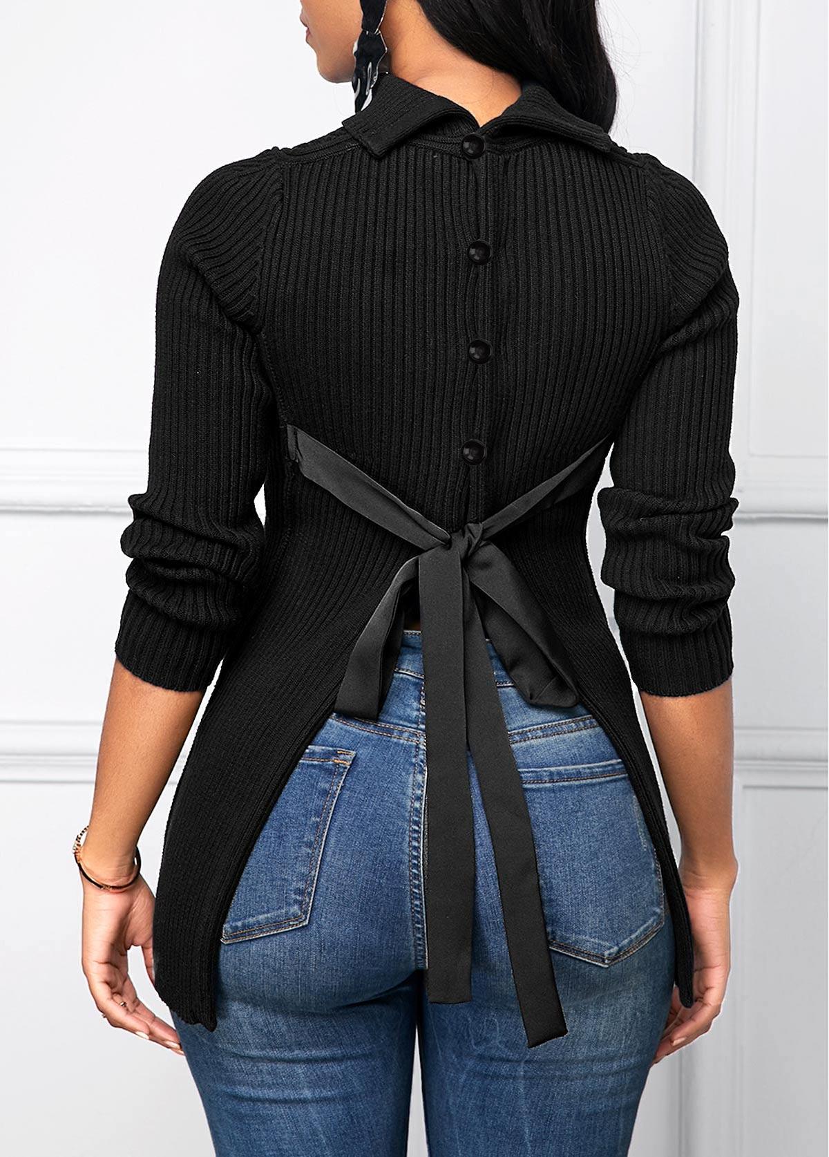 ROTITA Tie Back Black Button Decorated Sweater