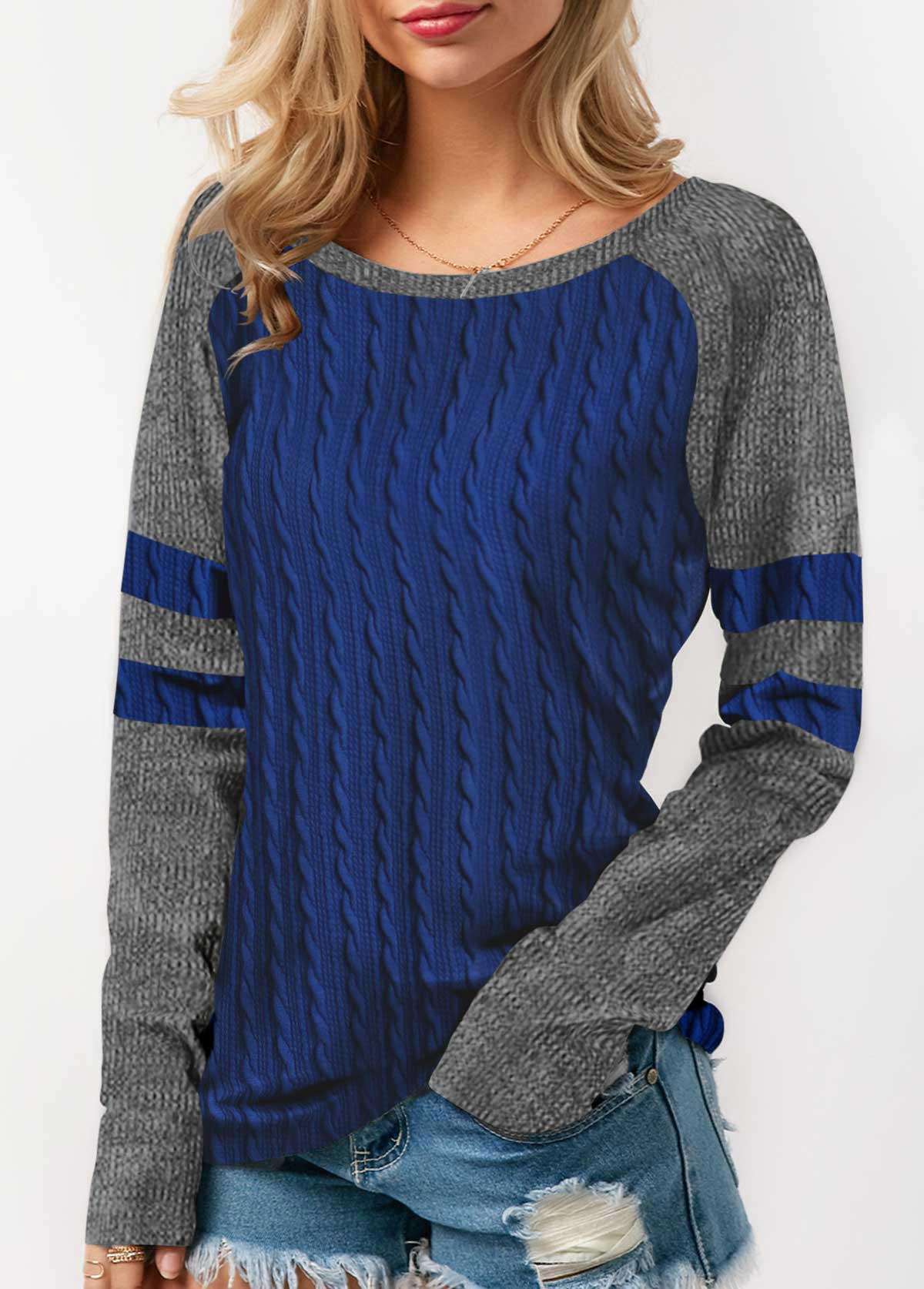 Twist Detail Long Sleeve Contrast Panel T Shirt