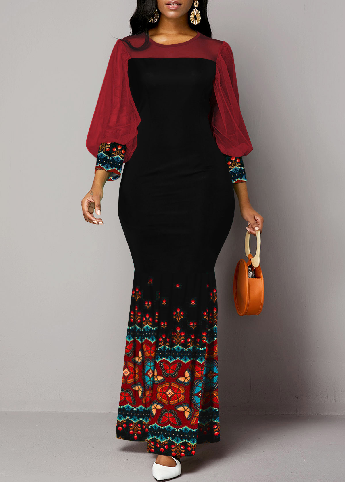 Tribal Print Round Neck Lantern Sleeve Maxi Dress