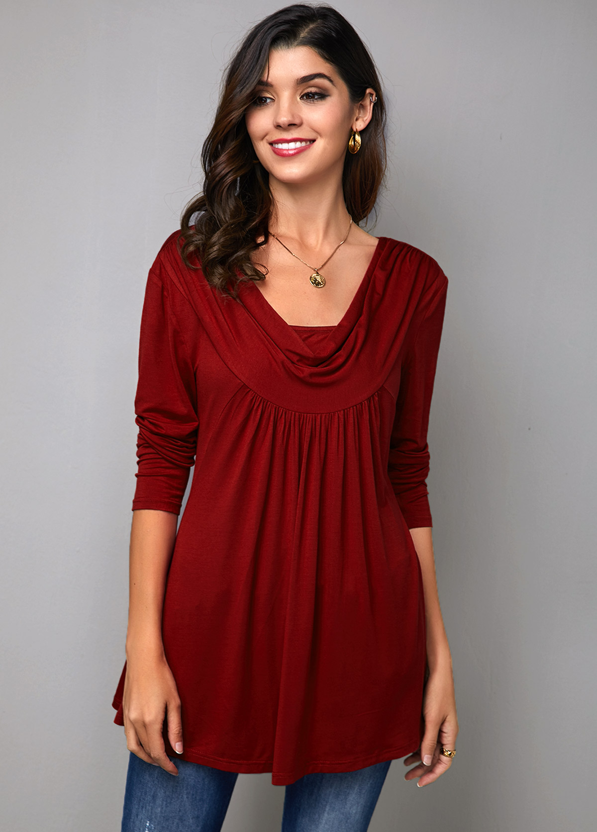 Wine Red Cowl Neck Long Sleeve T Shirt
