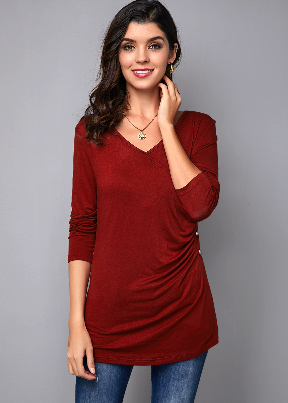ROTITA V Neck Button Detail Wine Red T Shirt