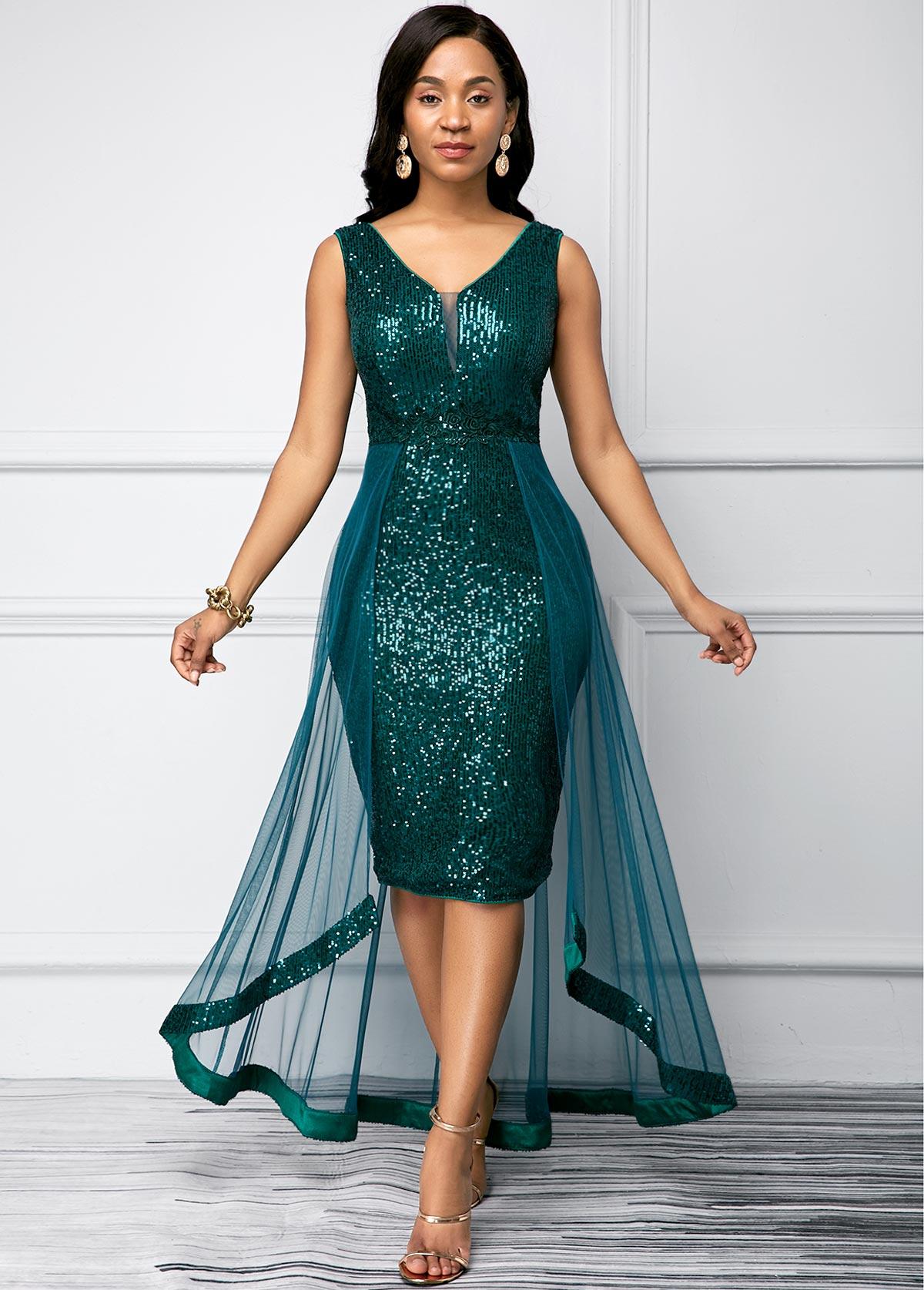 ROTITA Sequin Detail Peacock Blue Sleeveless Dress