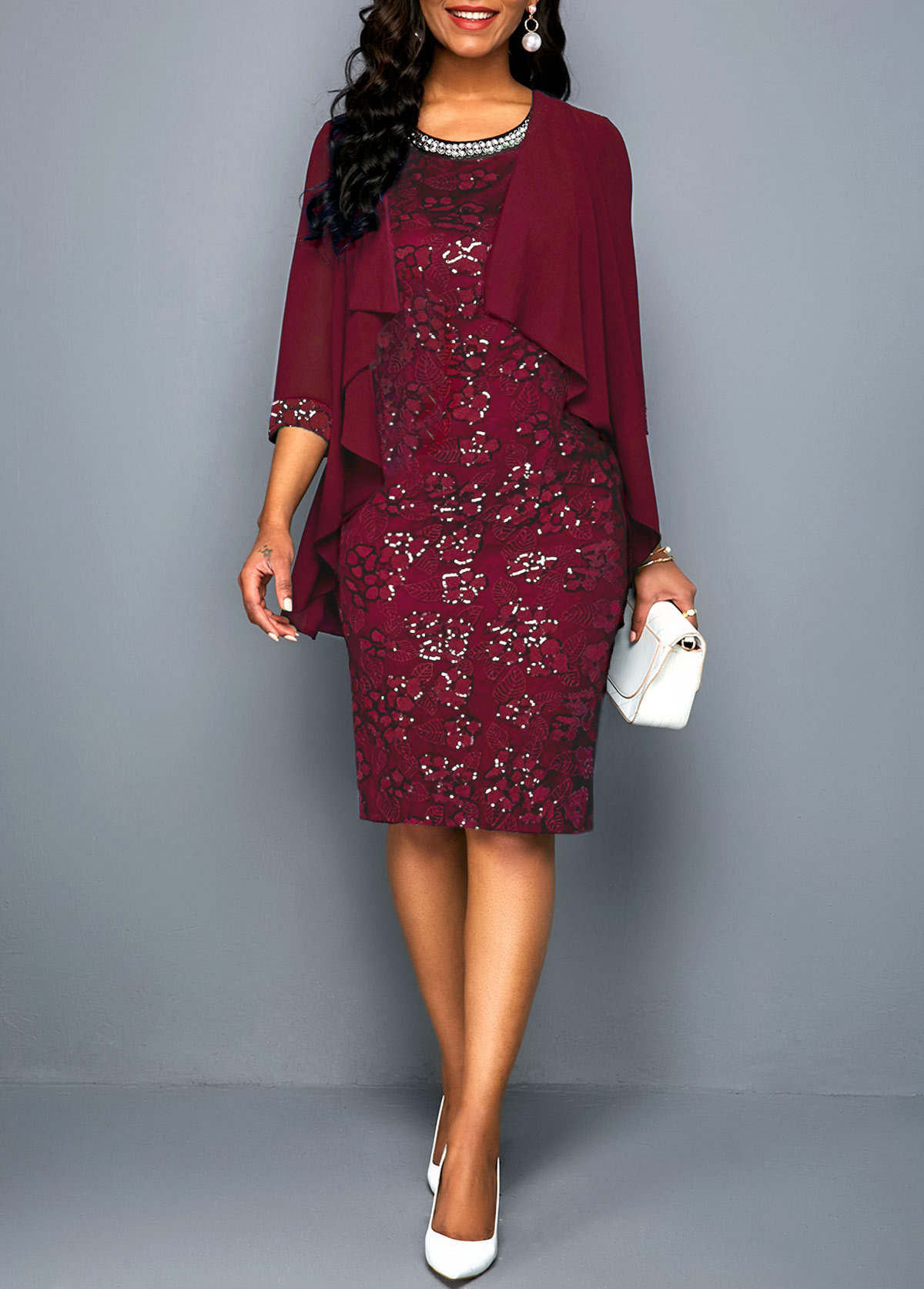 Open Front Wine Red Chiffon Cardigan and Lace Dress