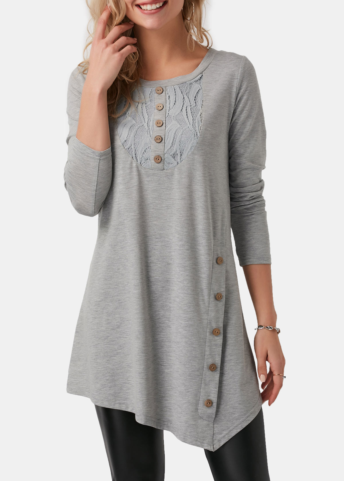 Asymmetric Hem Light Grey Button Detail T Shirt