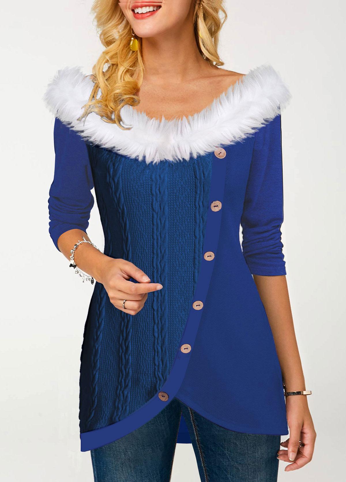 ROTITA Fur Collar Tulip Hem Inclined Button T Shirt
