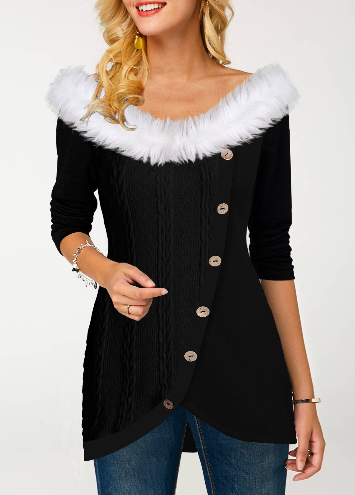 Fur Collar Tulip Hem Inclined Button T Shirt