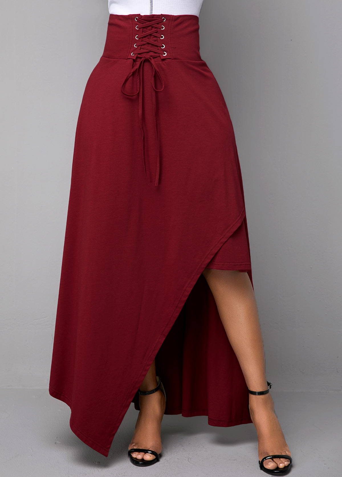 Lace Up Wine Red Band Waist Skirt