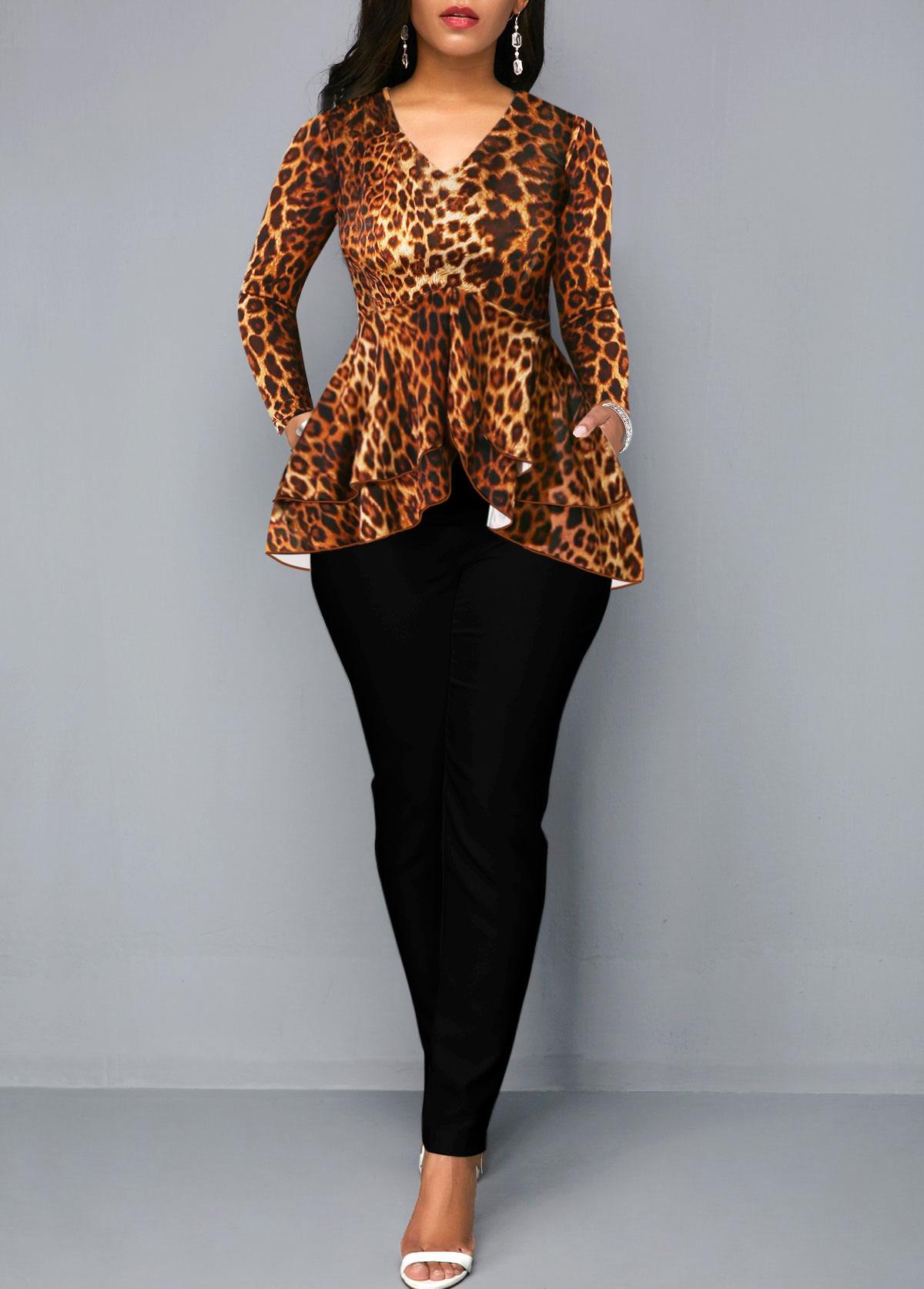 Leopard Print V Neck Ruffle Hem Jumpsuit