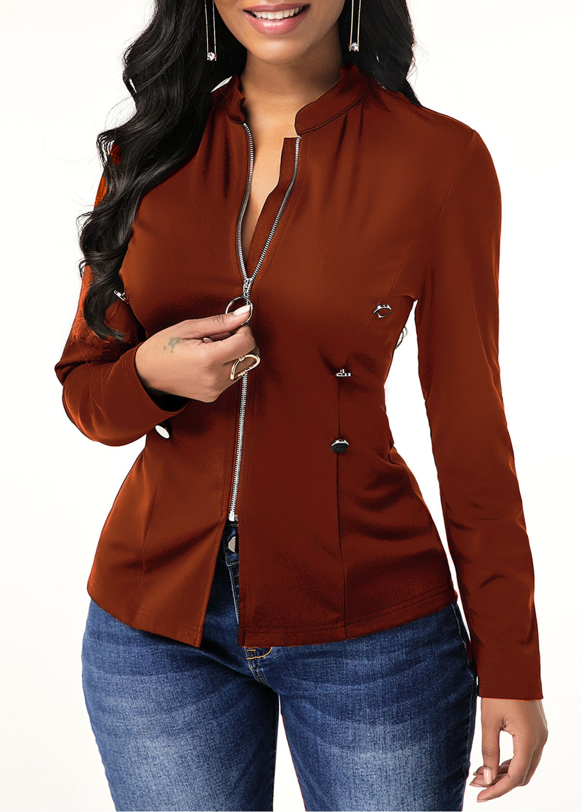 Zipper Closure Long Sleeve Button Decorated Jacket