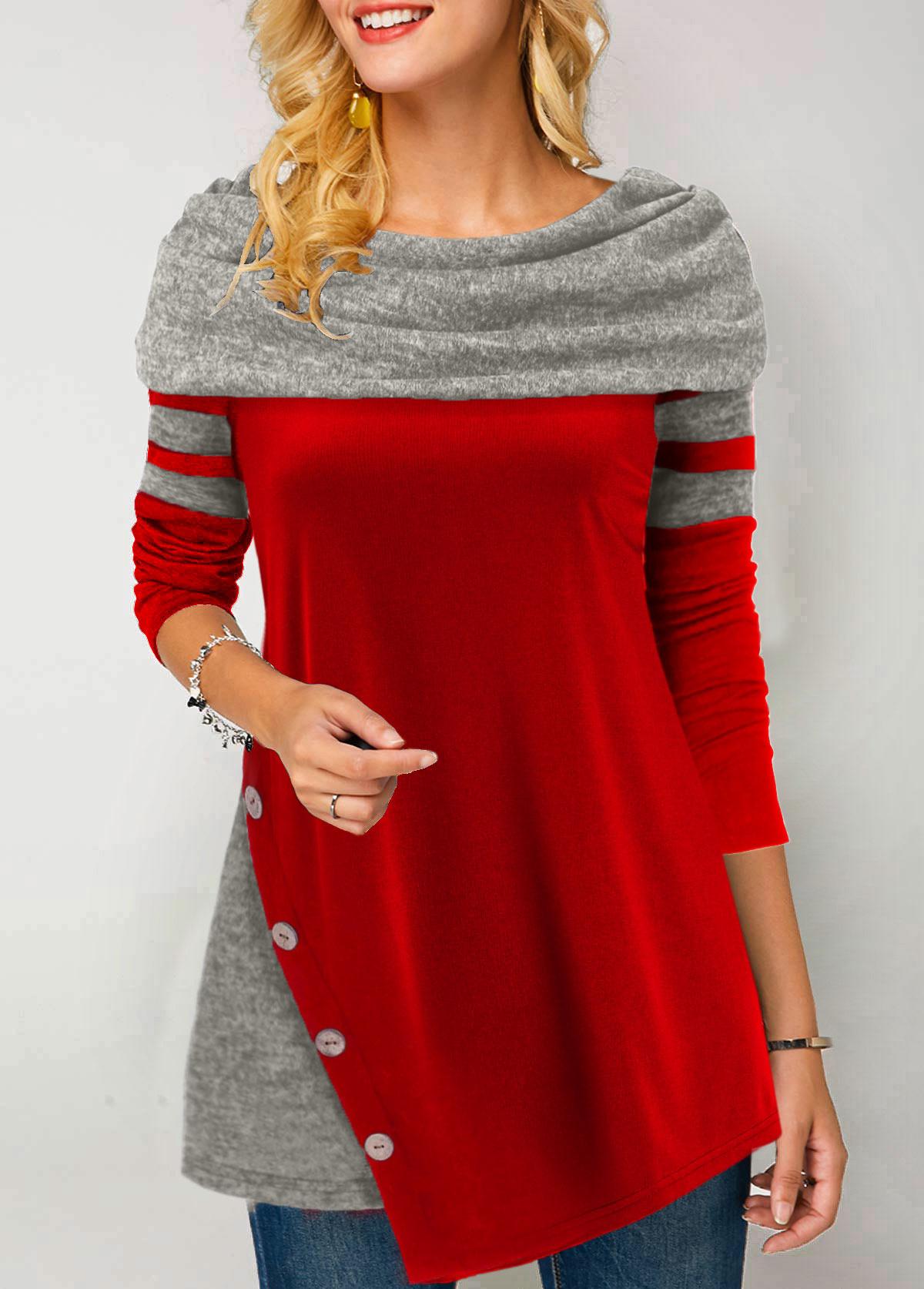 ROTITA Asymmetric Hem Cowl Neck Button Detail T Shirt