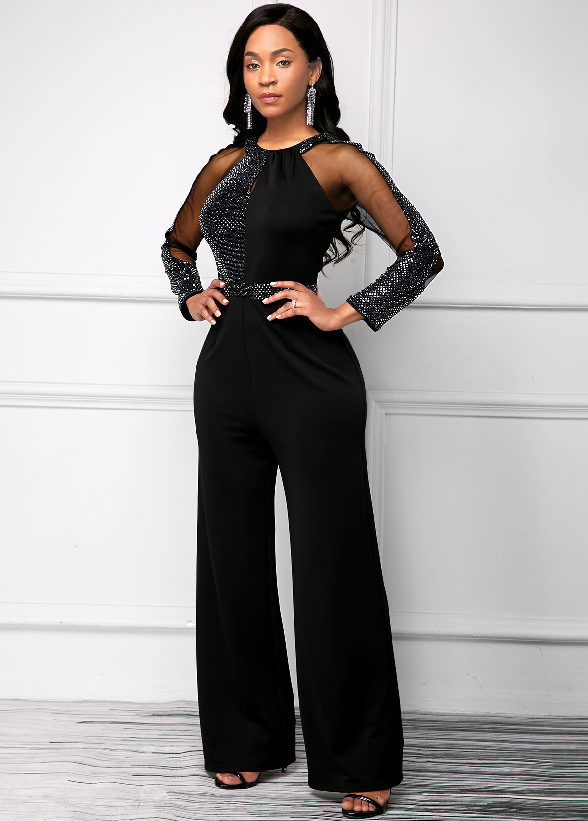 Long Sleeve Black Sequin Keyhole Neckline Jumpsuit