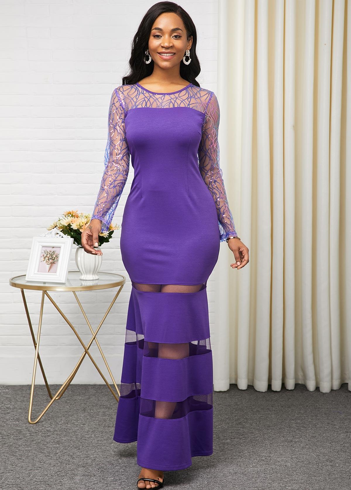 ROTITA Purple Mesh Pancel Long Sleeve Dress