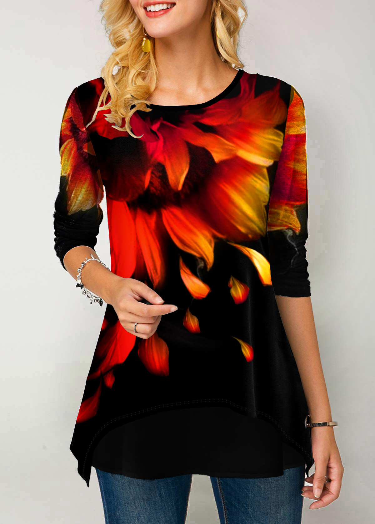 Printed Long Sleeve Round Neck T Shirt