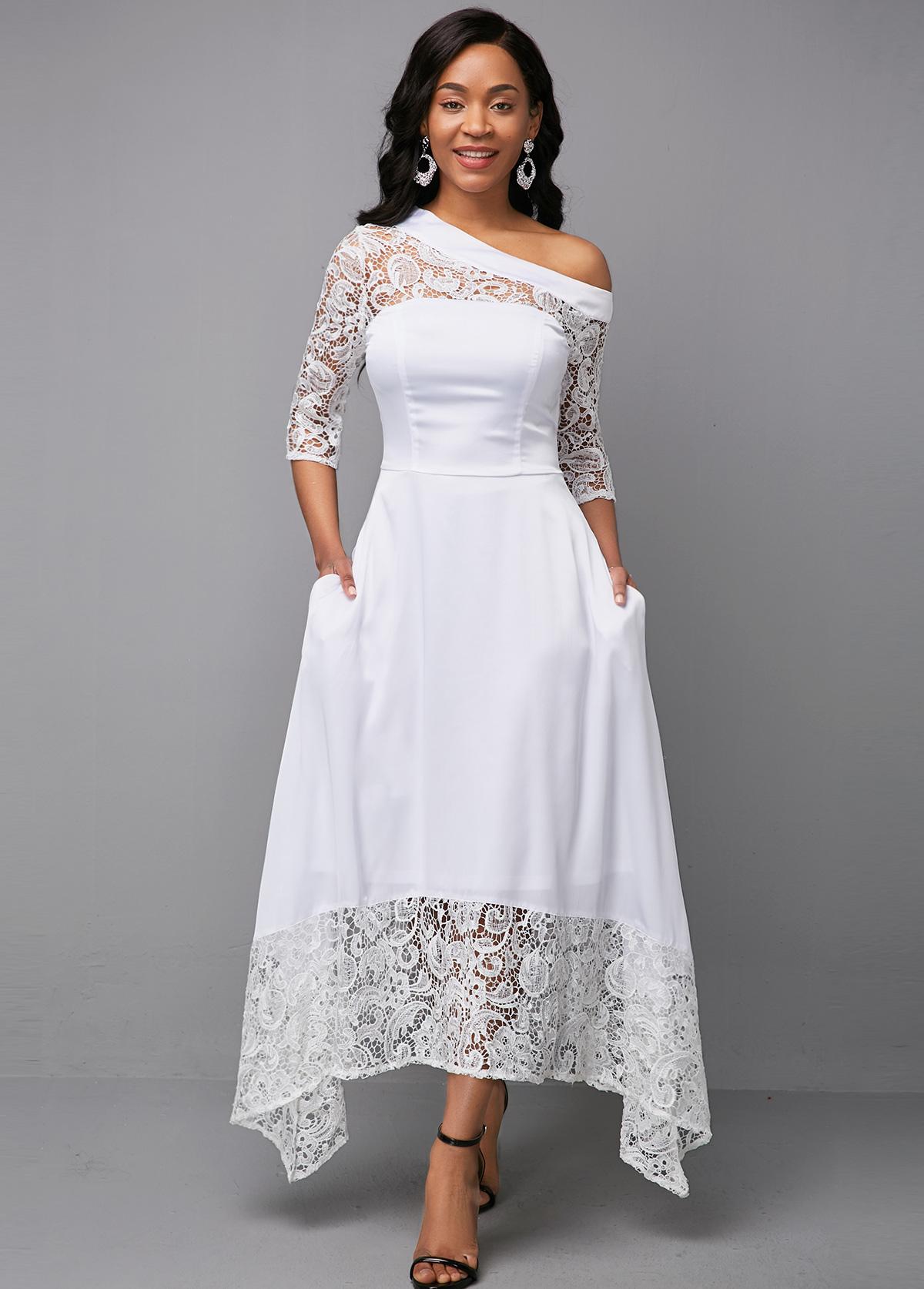 White Lace Patchwork Three Quarter Sleeve Dress