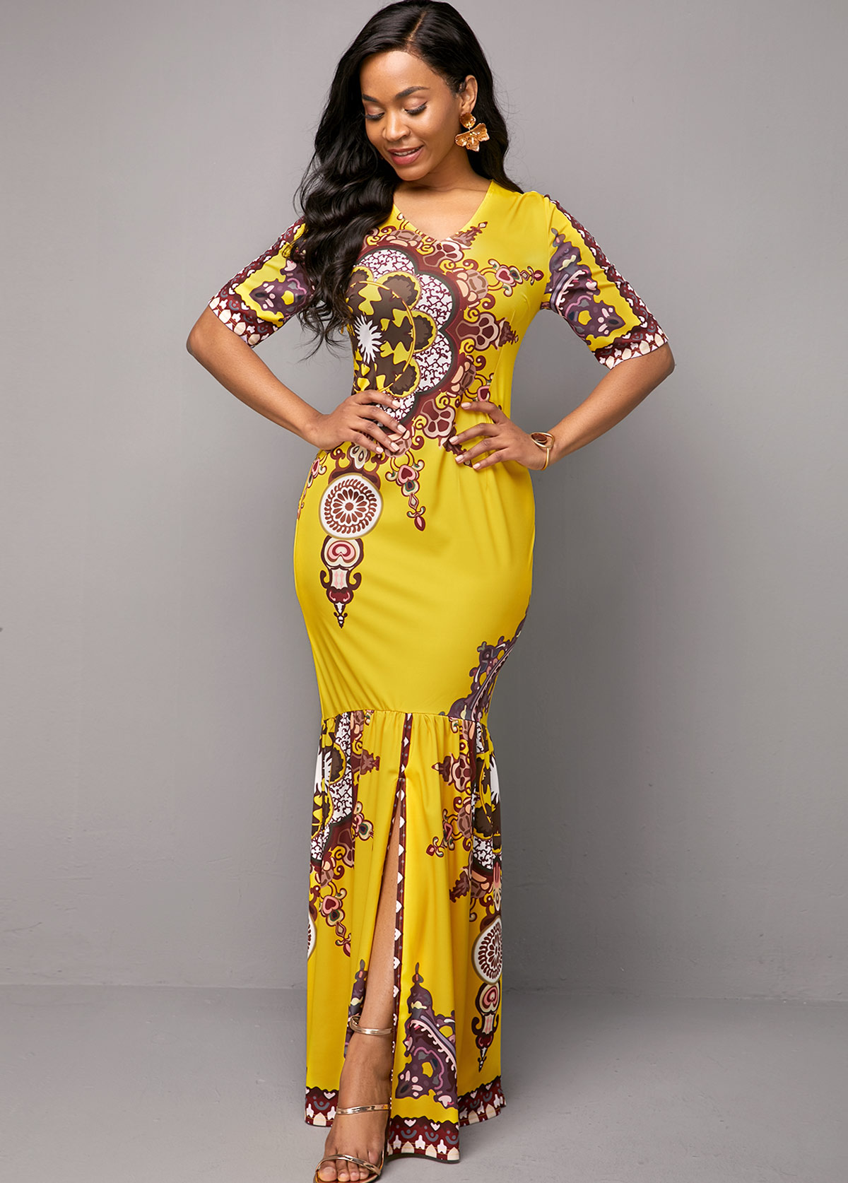 V Neck Yellow Tribal Print Dress
