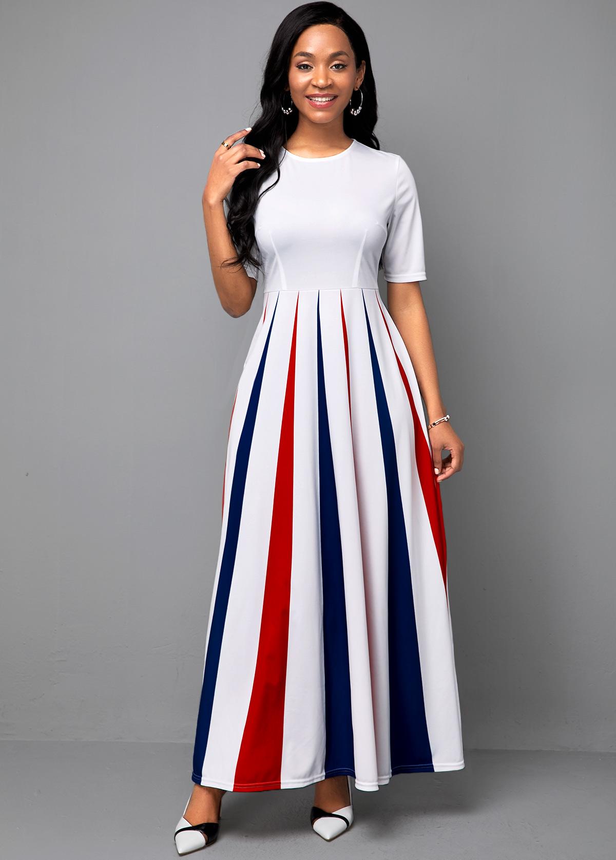 Half Sleeve Stripe Print Round Neck Dress