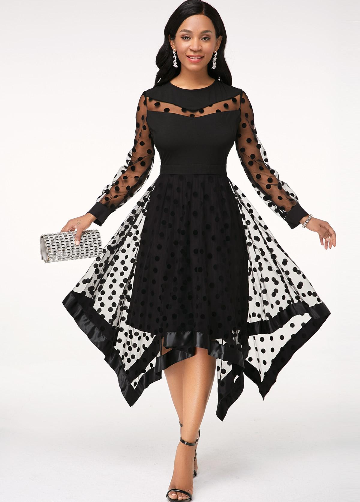 ROTITA Mesh Panel Asymmetric Hem Black Dress