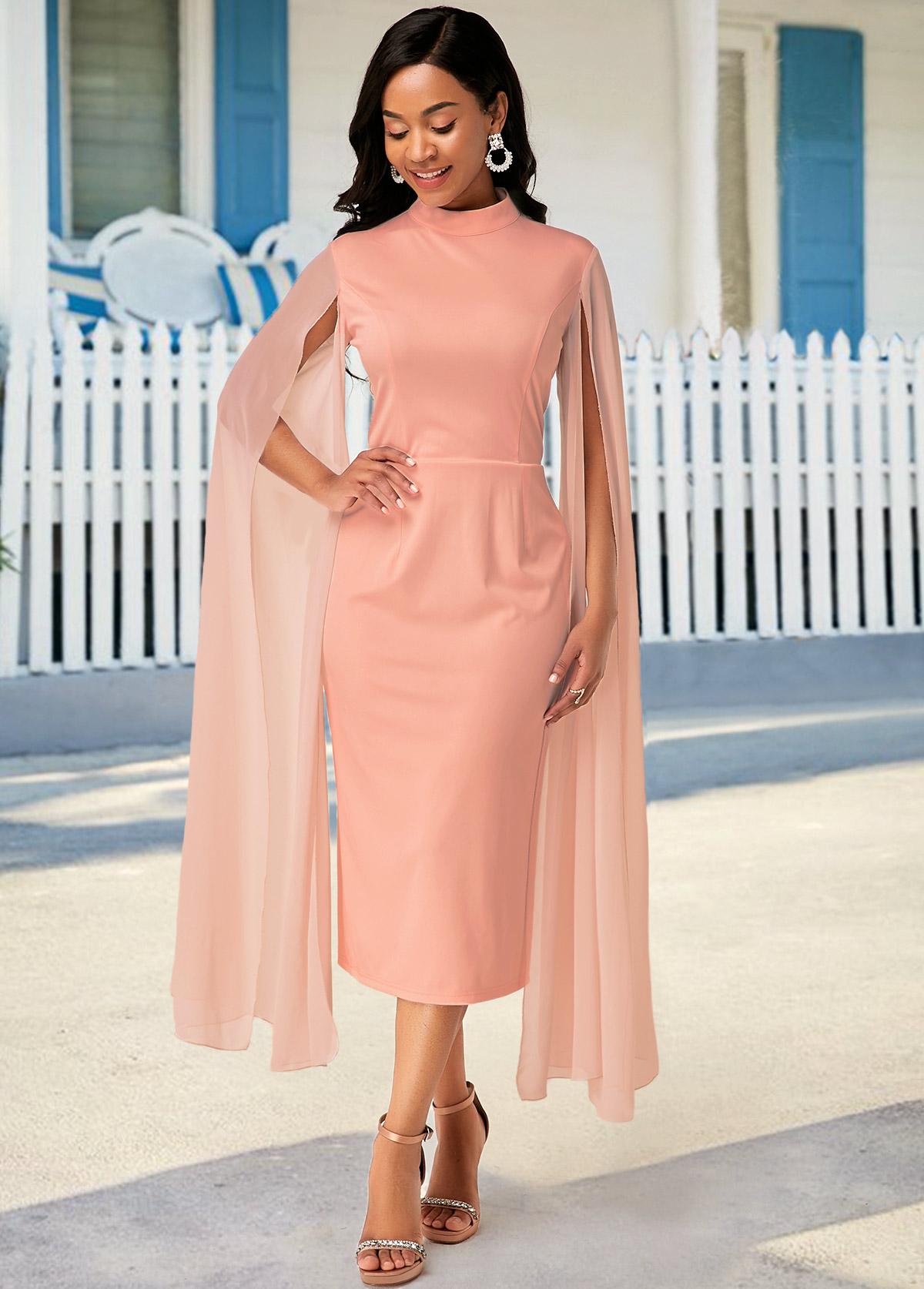 Stand Collar Pink Zipper Closure Cape Dress