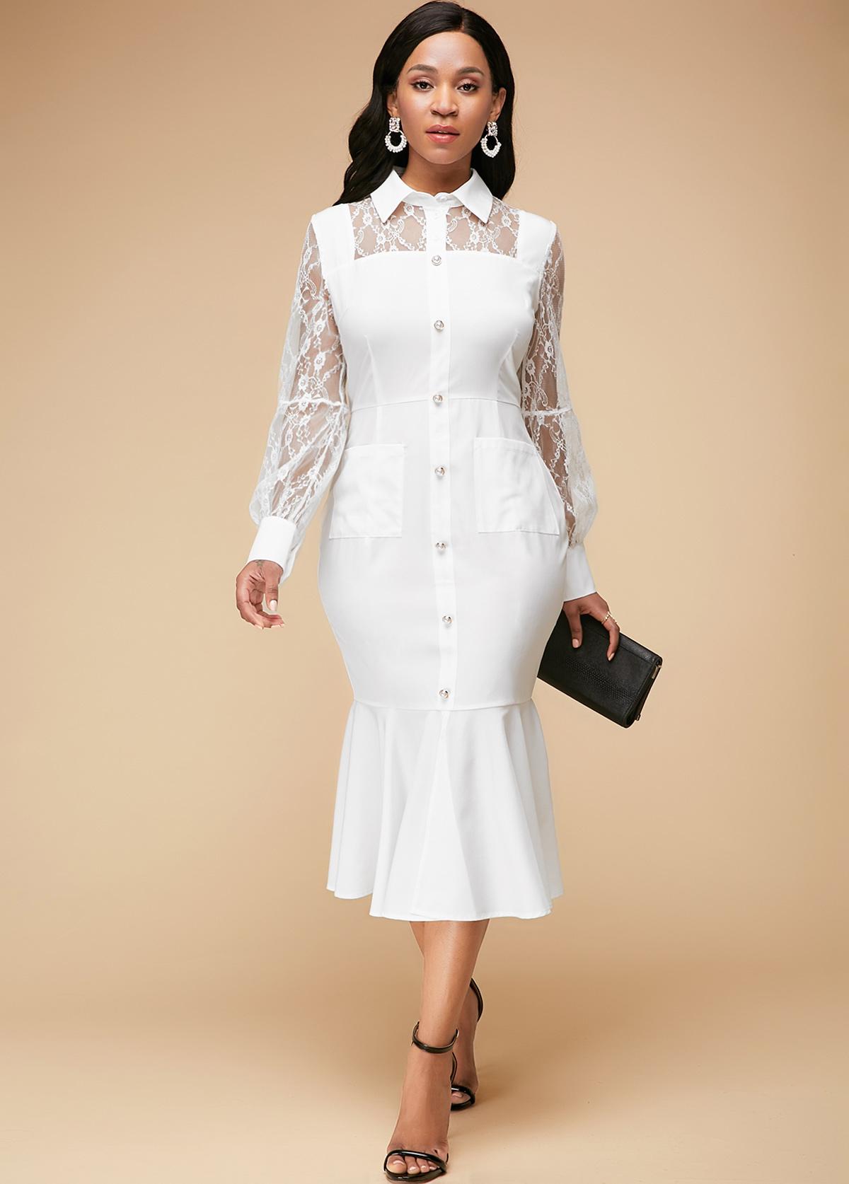 Lace Panel White Ruffle Hem Dress