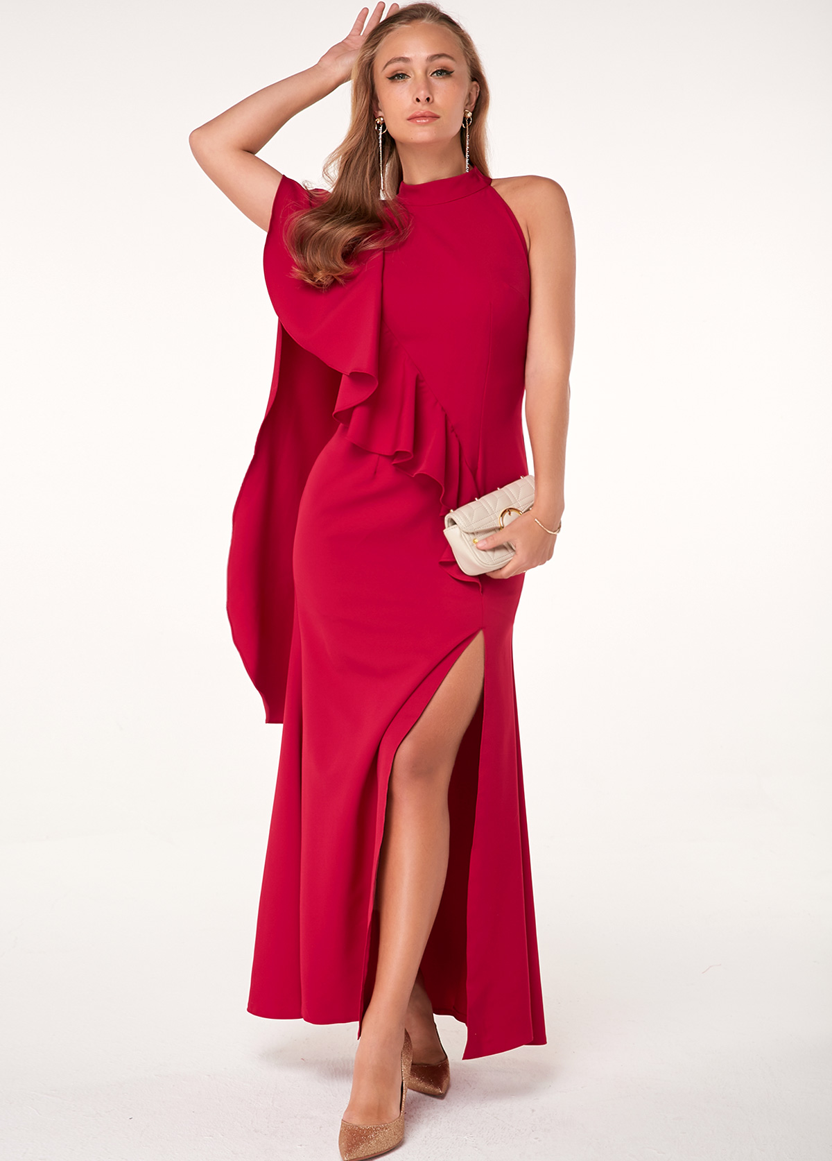 ROTITA Mock Neck Side Slit Red Cape Dress