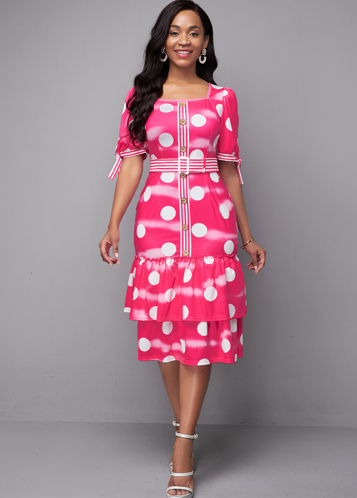Layered Short Sleeve Polka Dot Print Dress