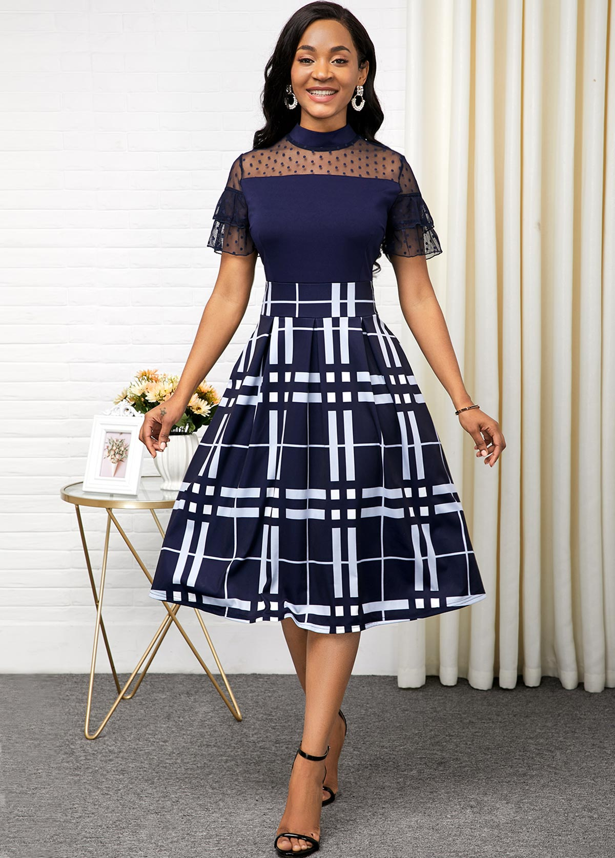 Lace Panel Plaid Print Short Sleeve Dress