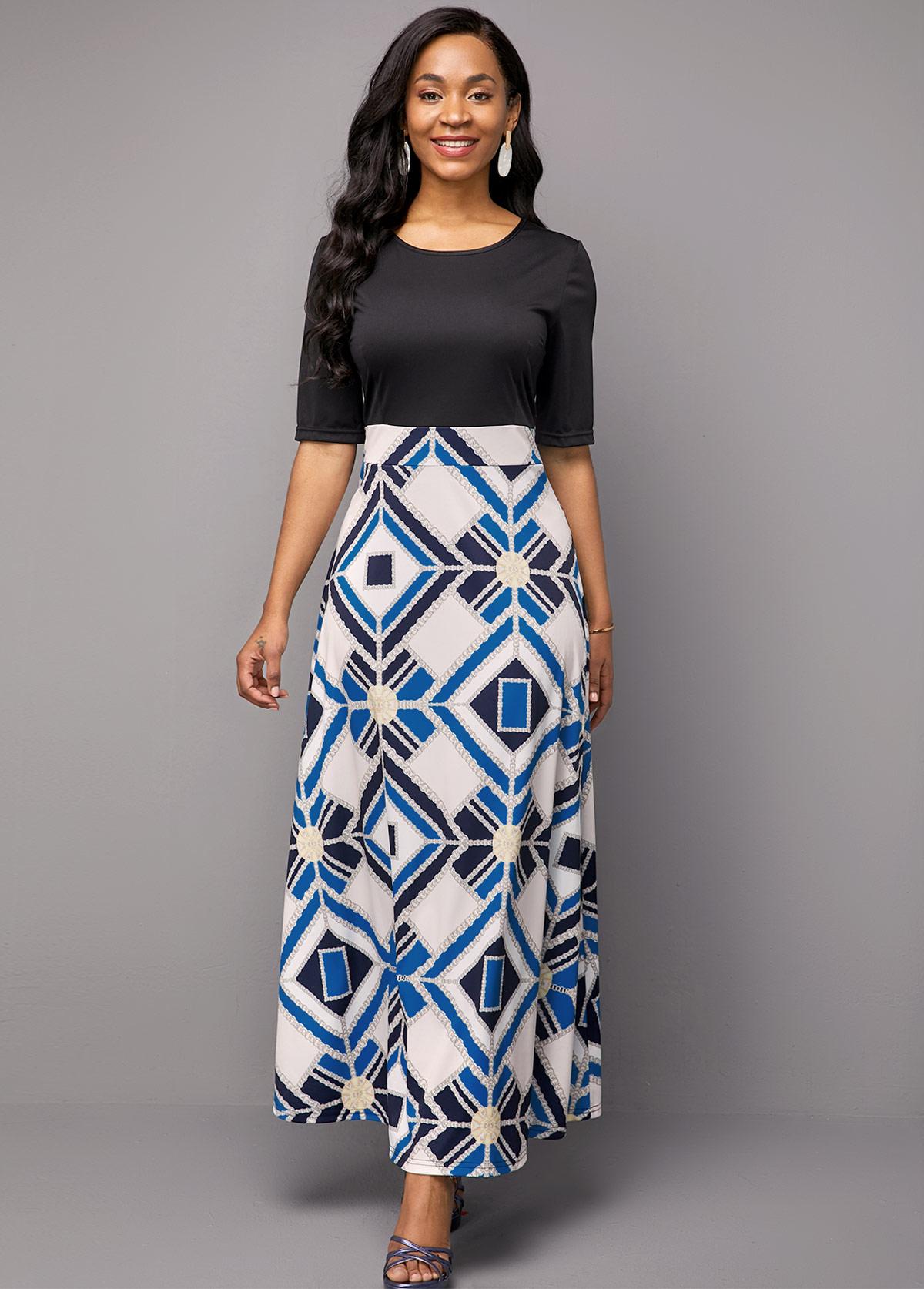 Round Neck Geometric Print Half Sleeve Dress