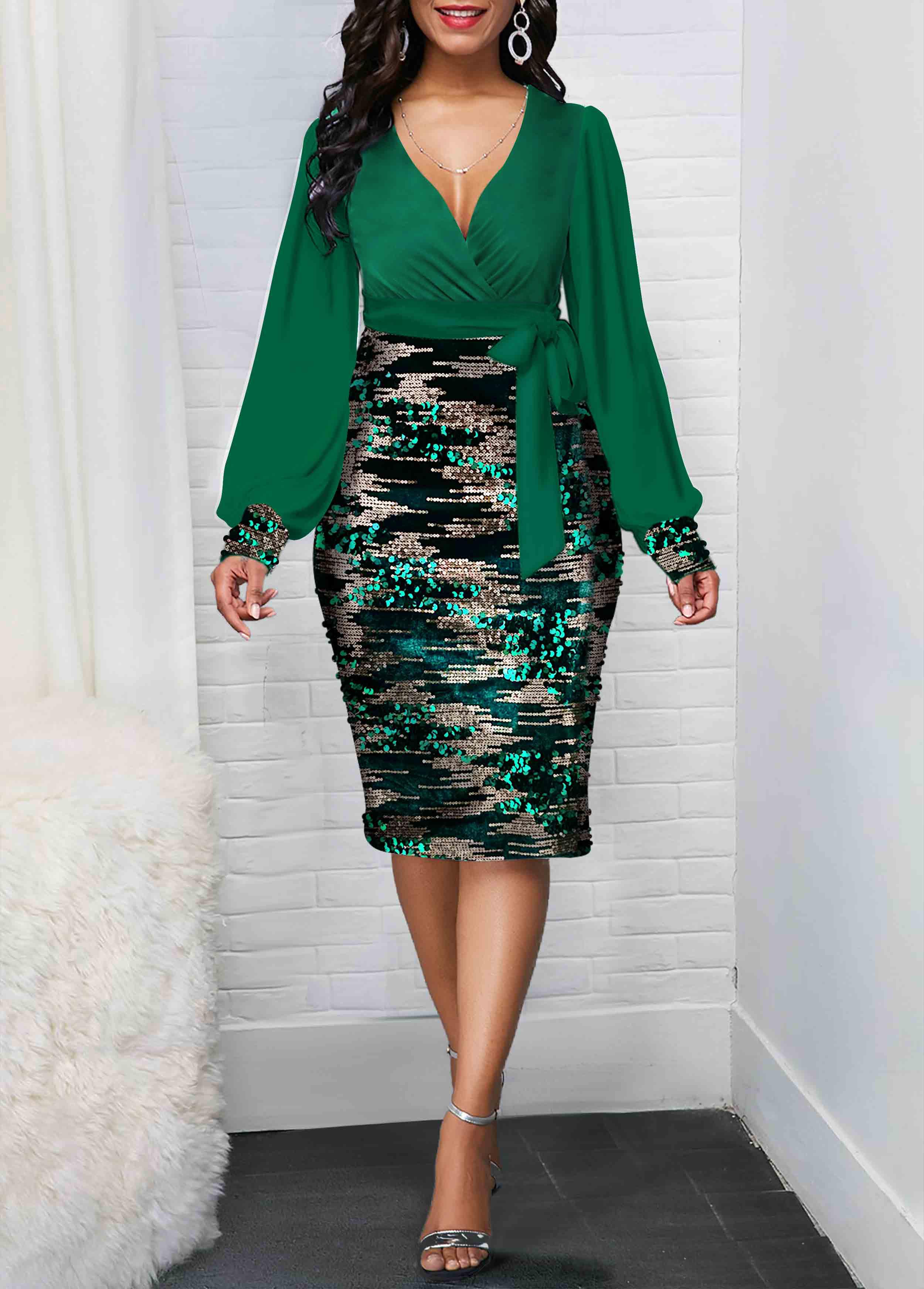 Sequin Detail Tie Side Plunging Neck Dress