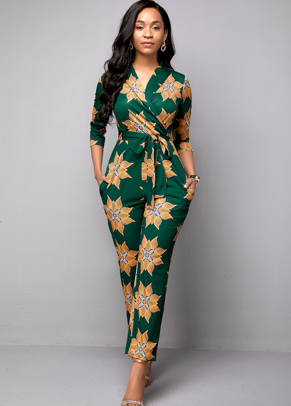 ROTITA Belted Side Pocket Tribal Print Jumpsuit
