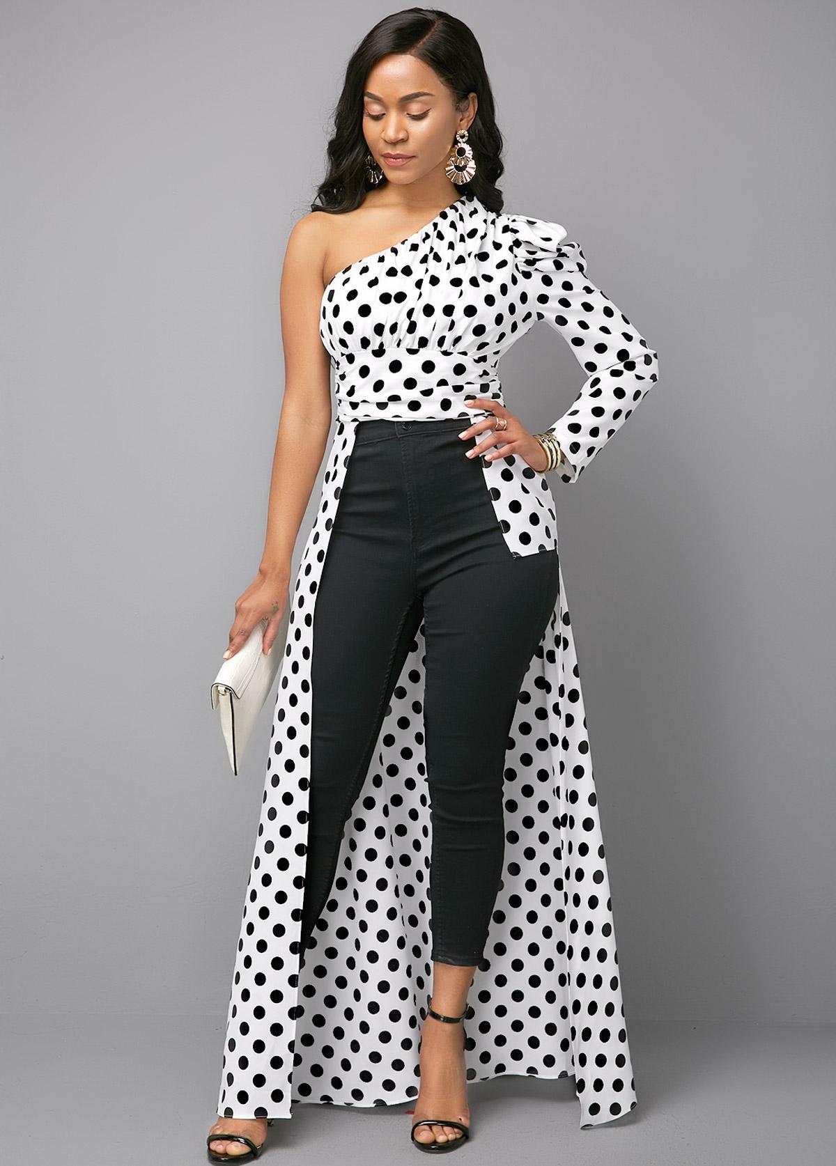 Polka Dot Print Color Block One Shoulder Blouse