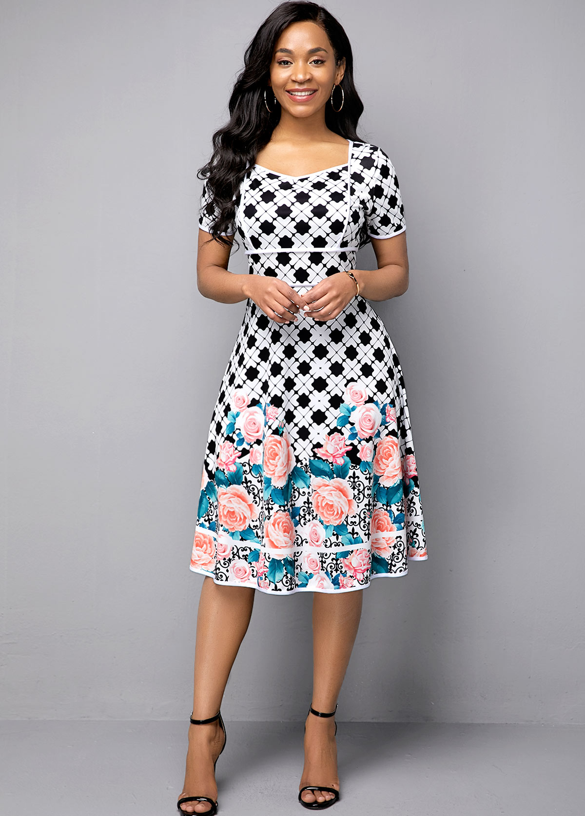 ROTITA Short Sleeve High Waist Flower Print Dress