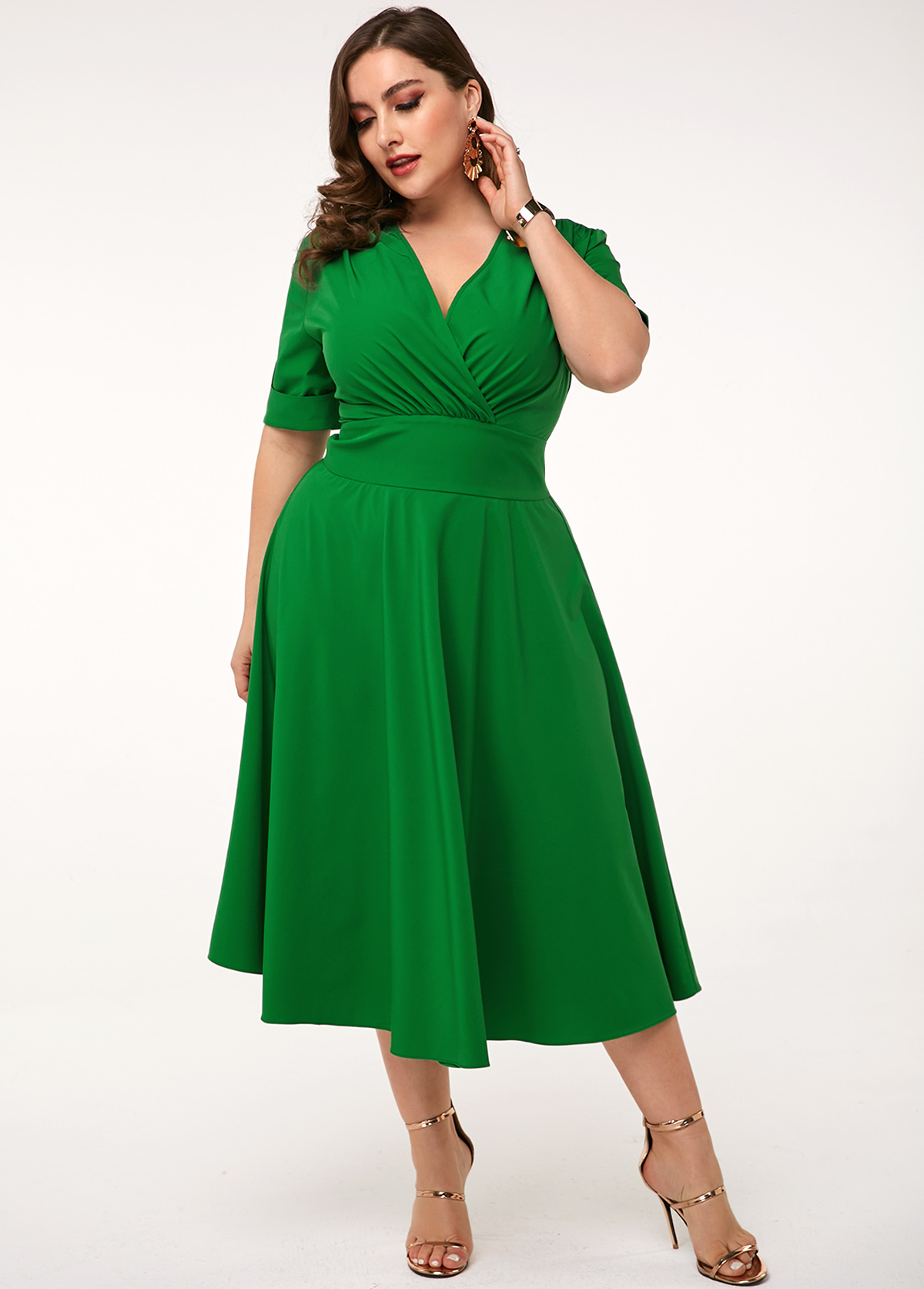 ROTITA V Neck Plus Size High Waist Dress