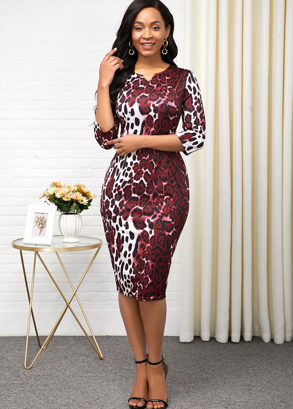 ROTITA Leopard Print Three Quarter Sleeve Split Neck Dress
