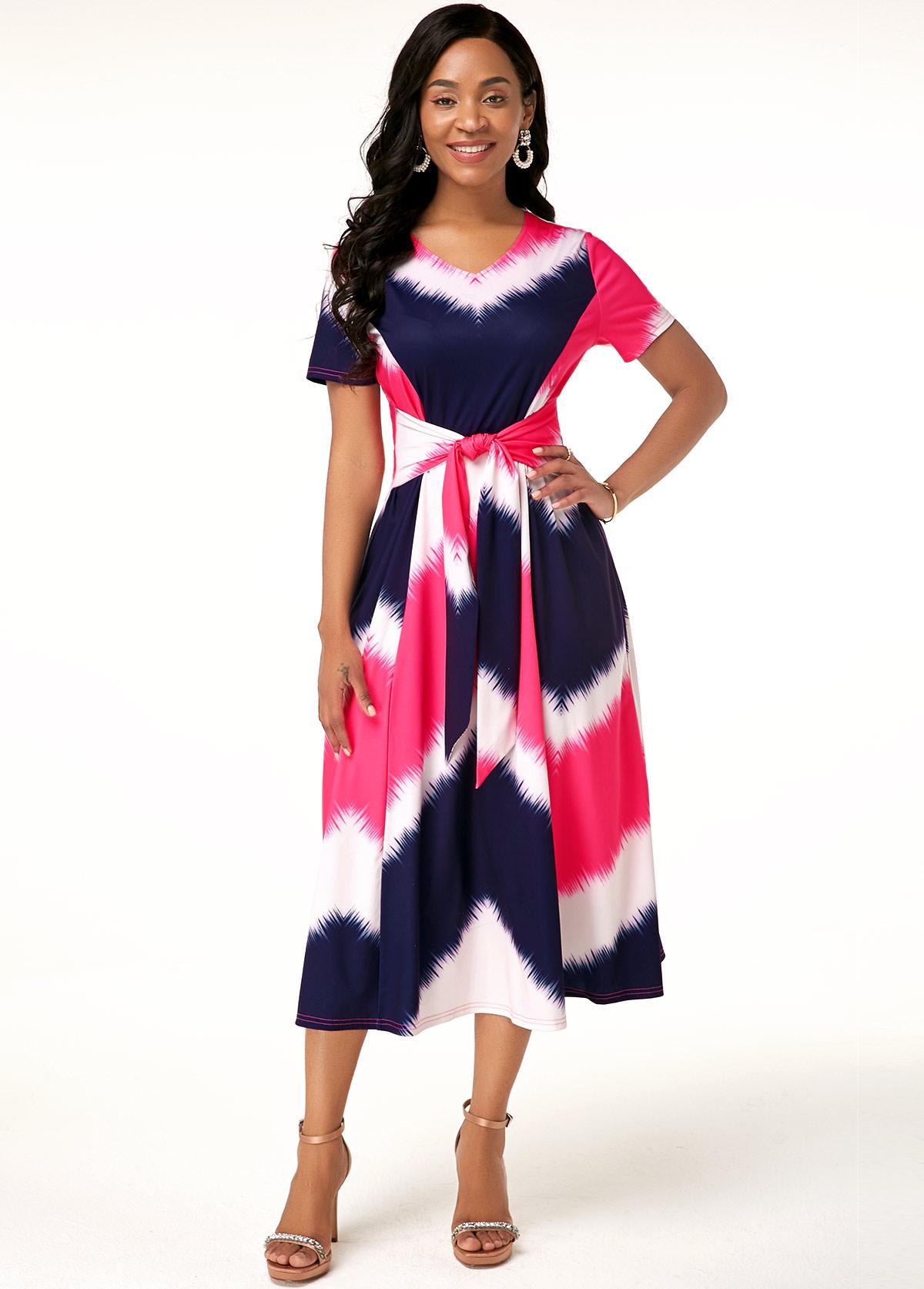 Multi Color Round Neck Short Sleeve Dress