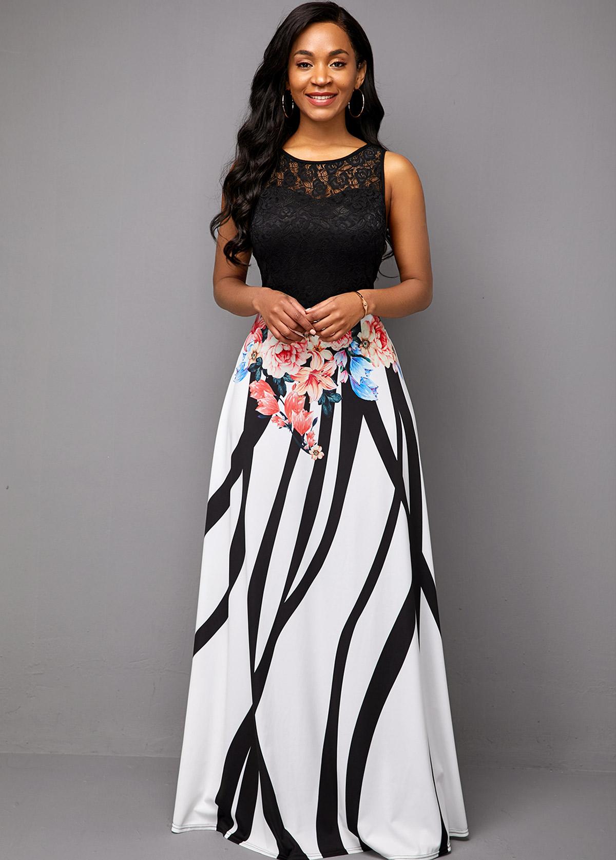 Lace Patchwork Sleeveless Flower Print Maxi Dress