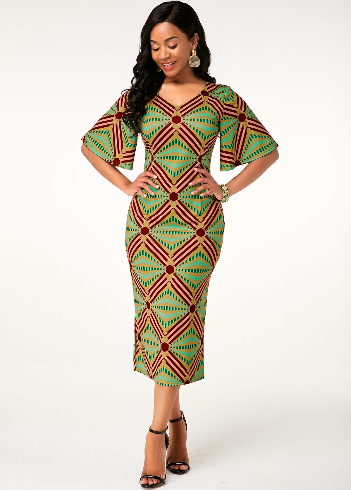 ROTITA Half Sleeve Tribal Print V Neck Dress