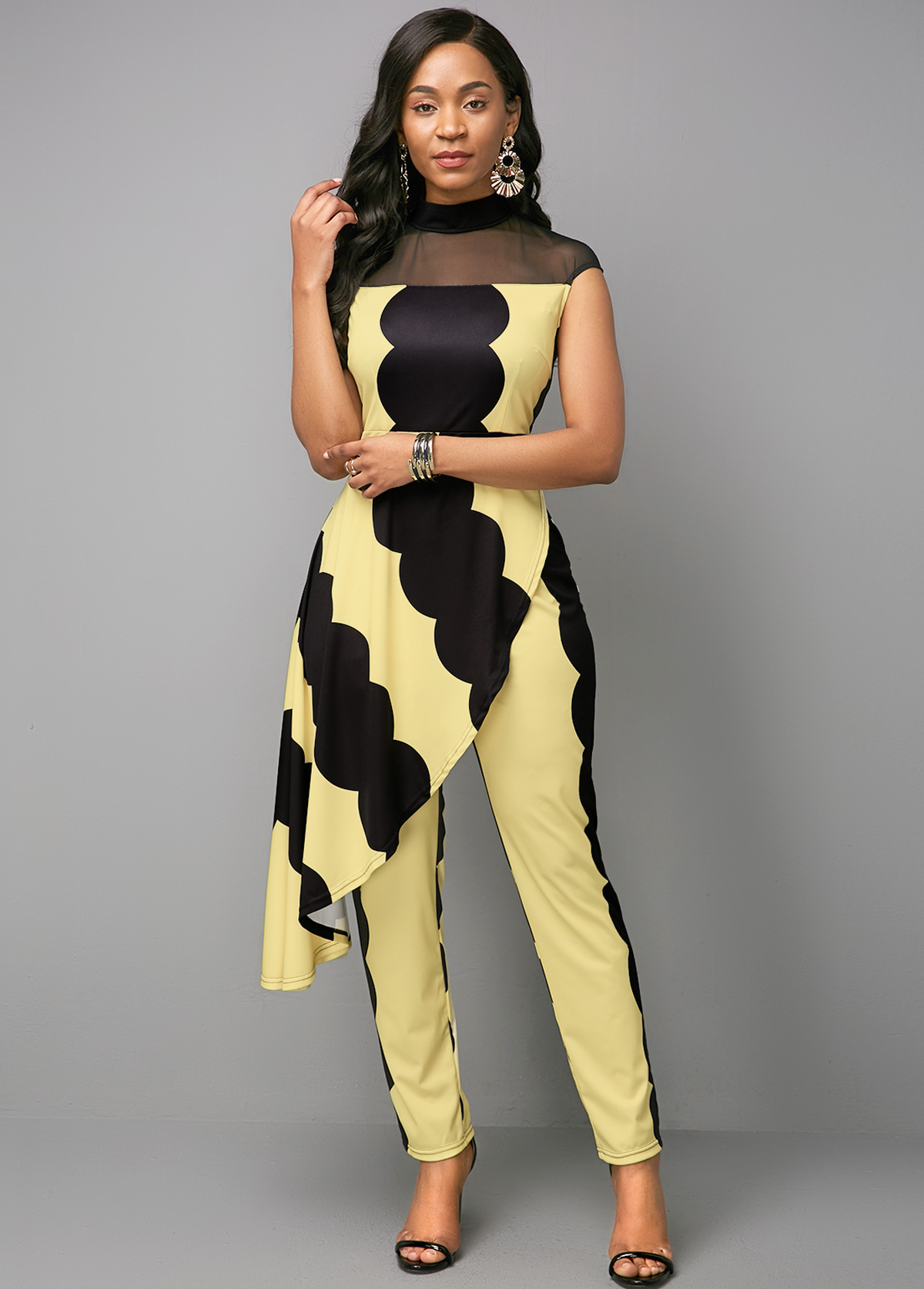 Mock Neck Mesh Panel Printed Color Block Jumpsuit