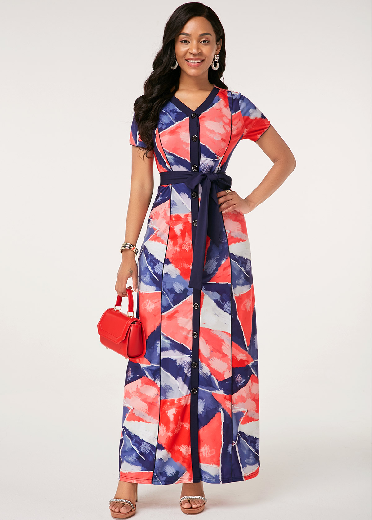 Button Up Printed Belted Short Sleeve Dress