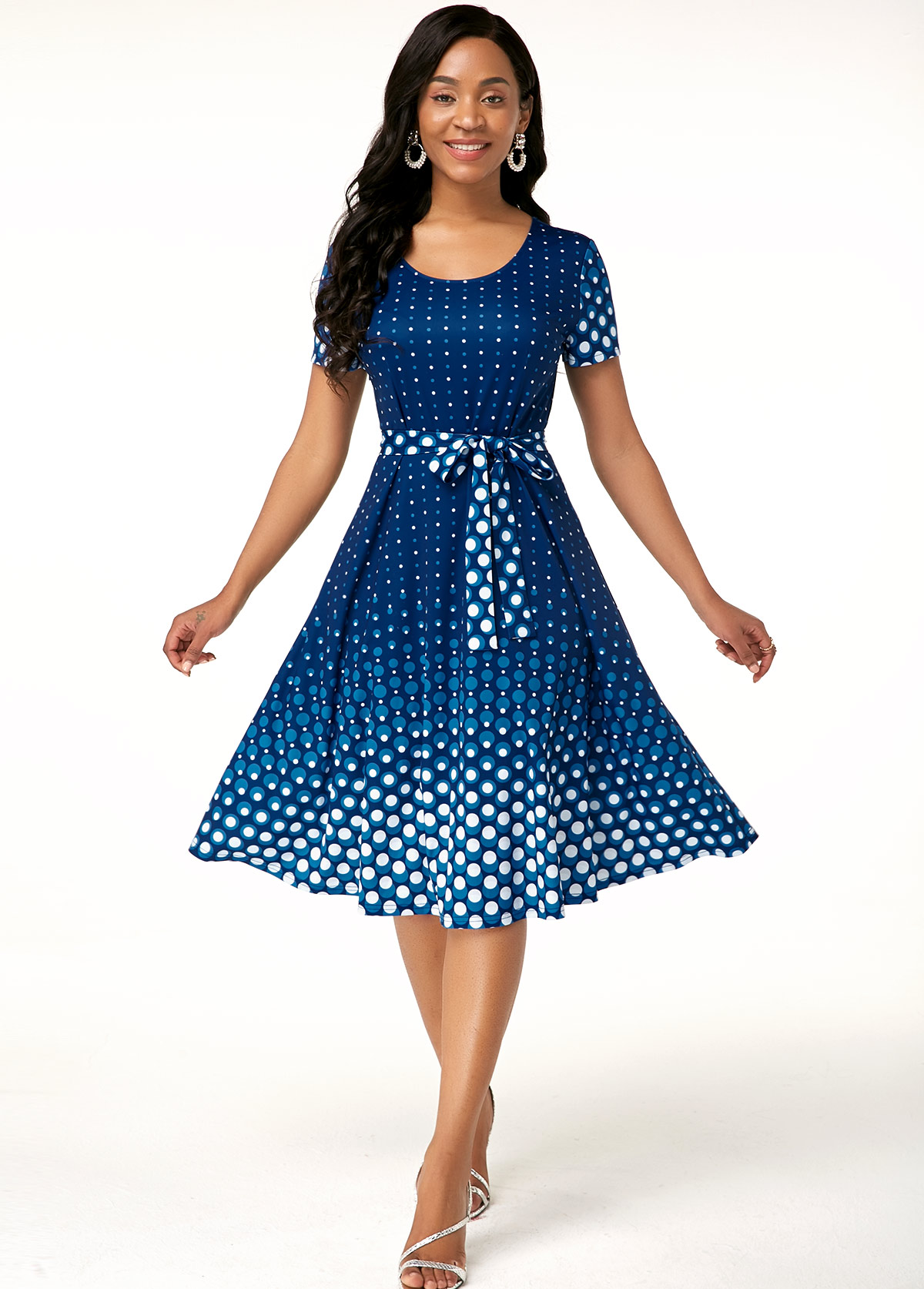 ROTITA Short Sleeve Polka Dot Print Belted Dress