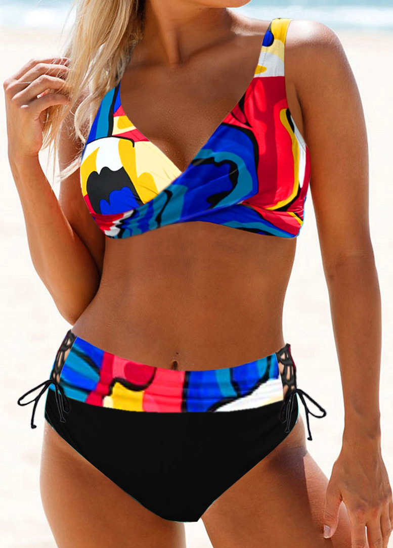 Printed Lace Up Drawstring Waist Bikini Set