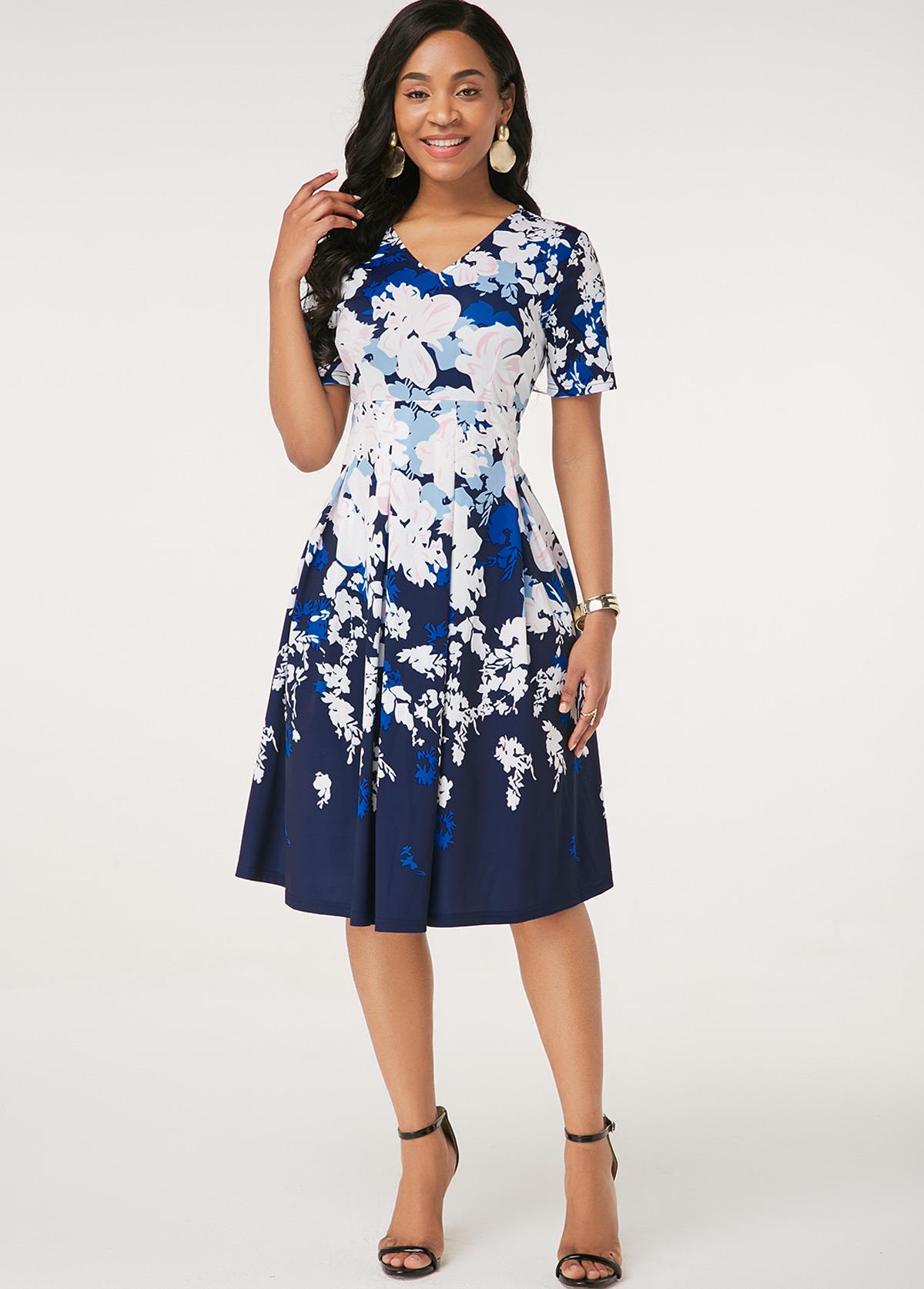 Short Sleeve Floral Print V Neck Dress