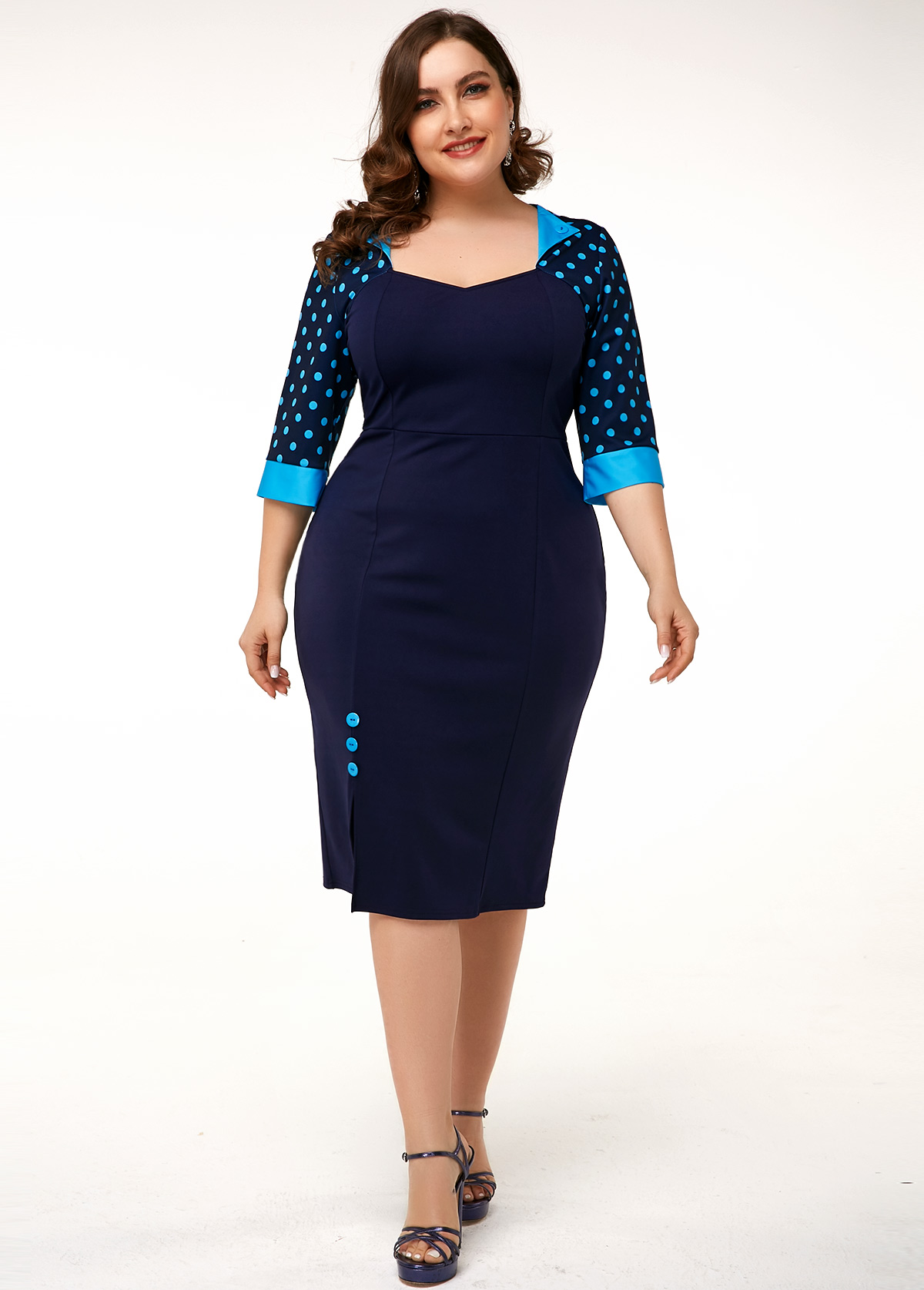 ROTITA Plus Size Button Detail Polka Dot Dress