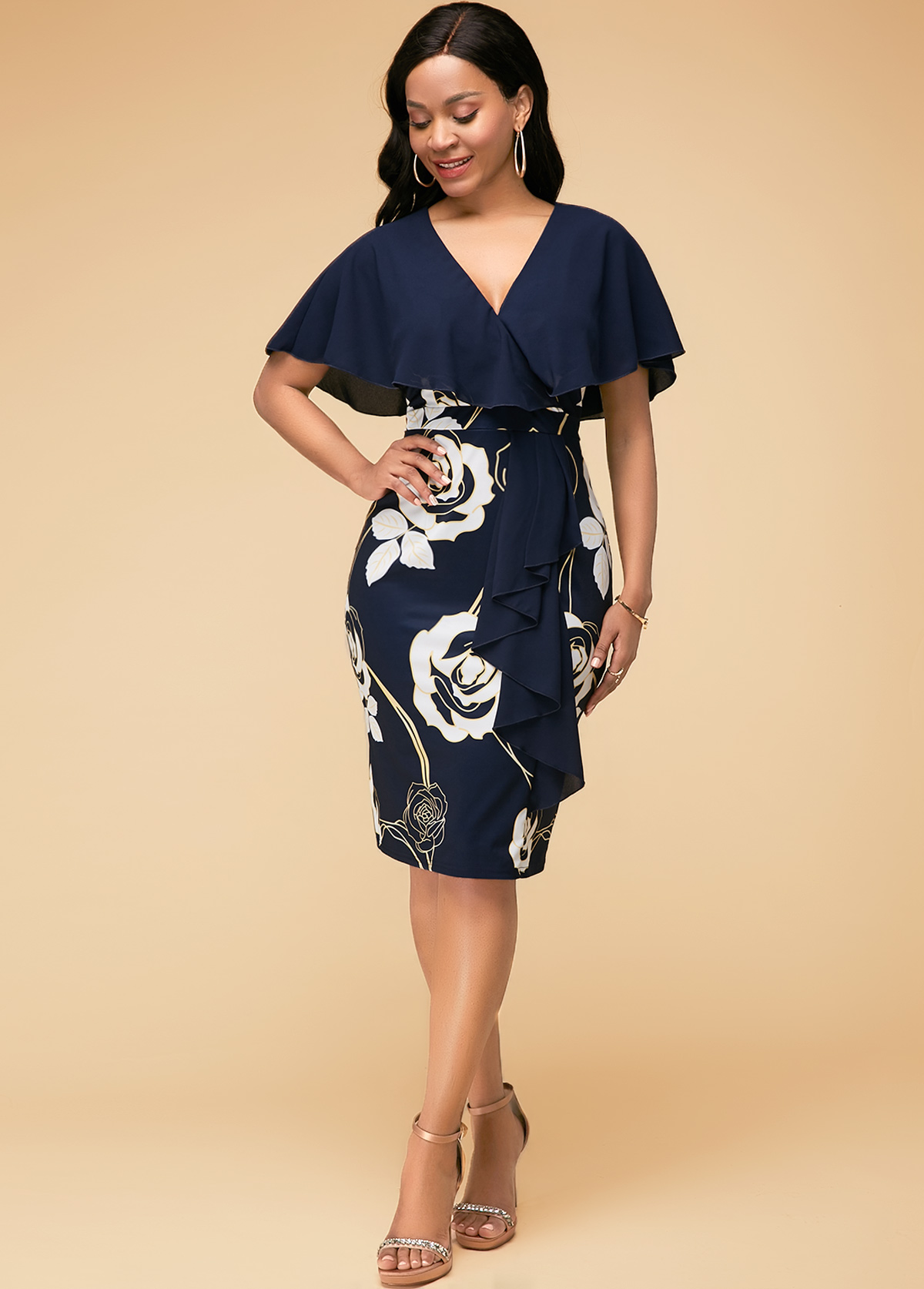 Flower Print Half Sleeve Navy Blue Dress