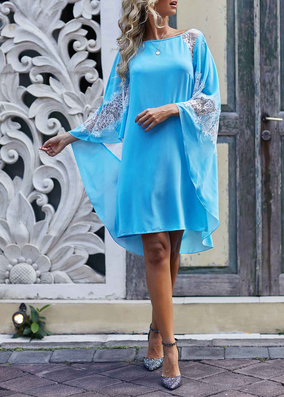 ROTITA Lace Patchwork Sky Blue Three Quarter Sleeve Dress