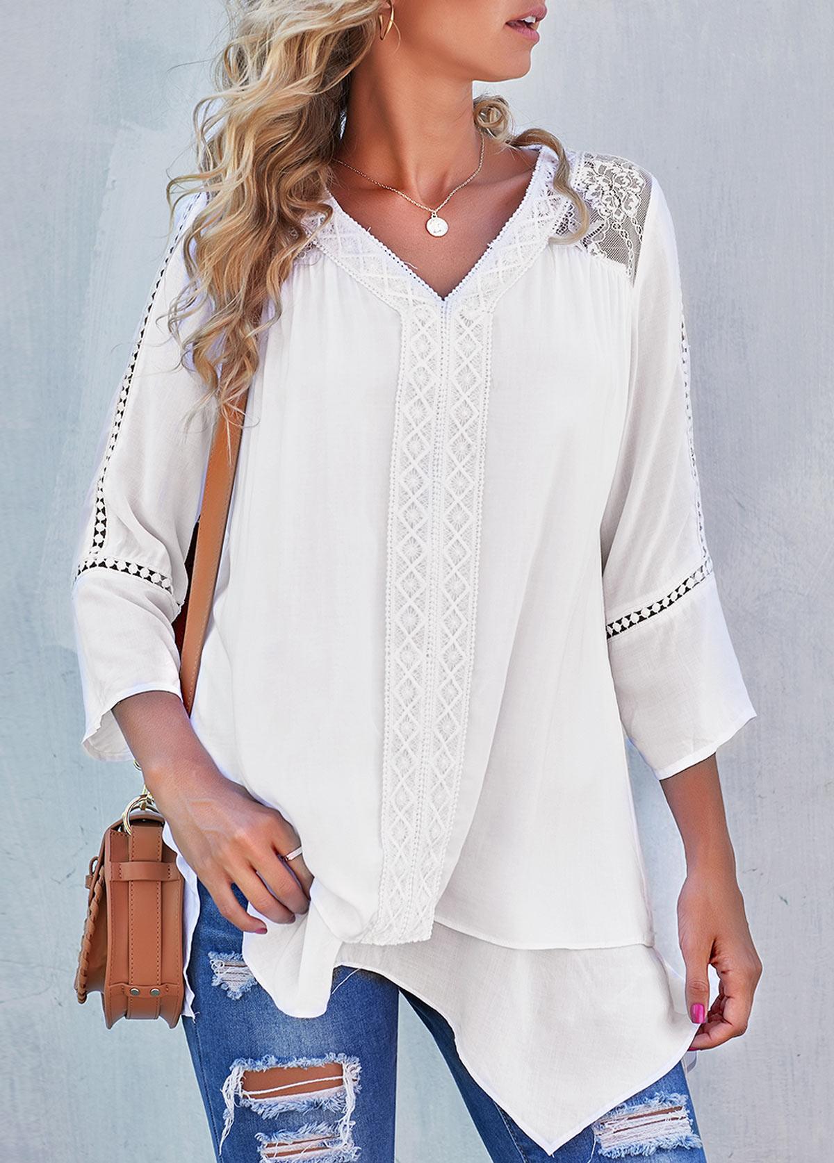 Chiffon Lace White Stitching Asymmetric Hem Blouse